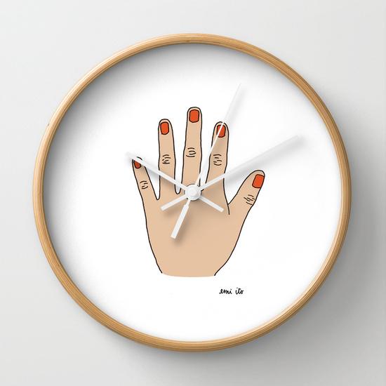Painted Nails Wall Clock - emi ito illustration