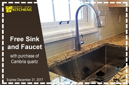 Take advantage of our fall promo! Now until the end of December,  buy a Cambria countertop, and receive a free sink and faucet of your choice!