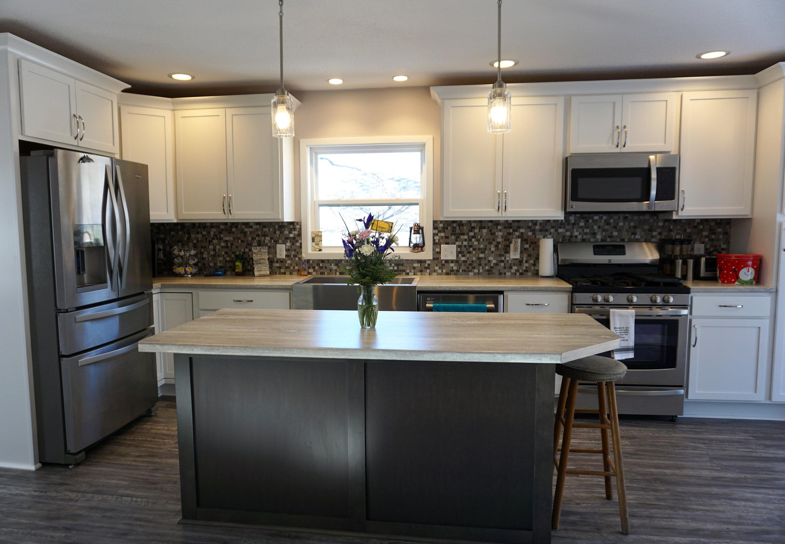 Painted White and Maple cabinets, Ceramic Tileworks NIghtfall : Moonbeam