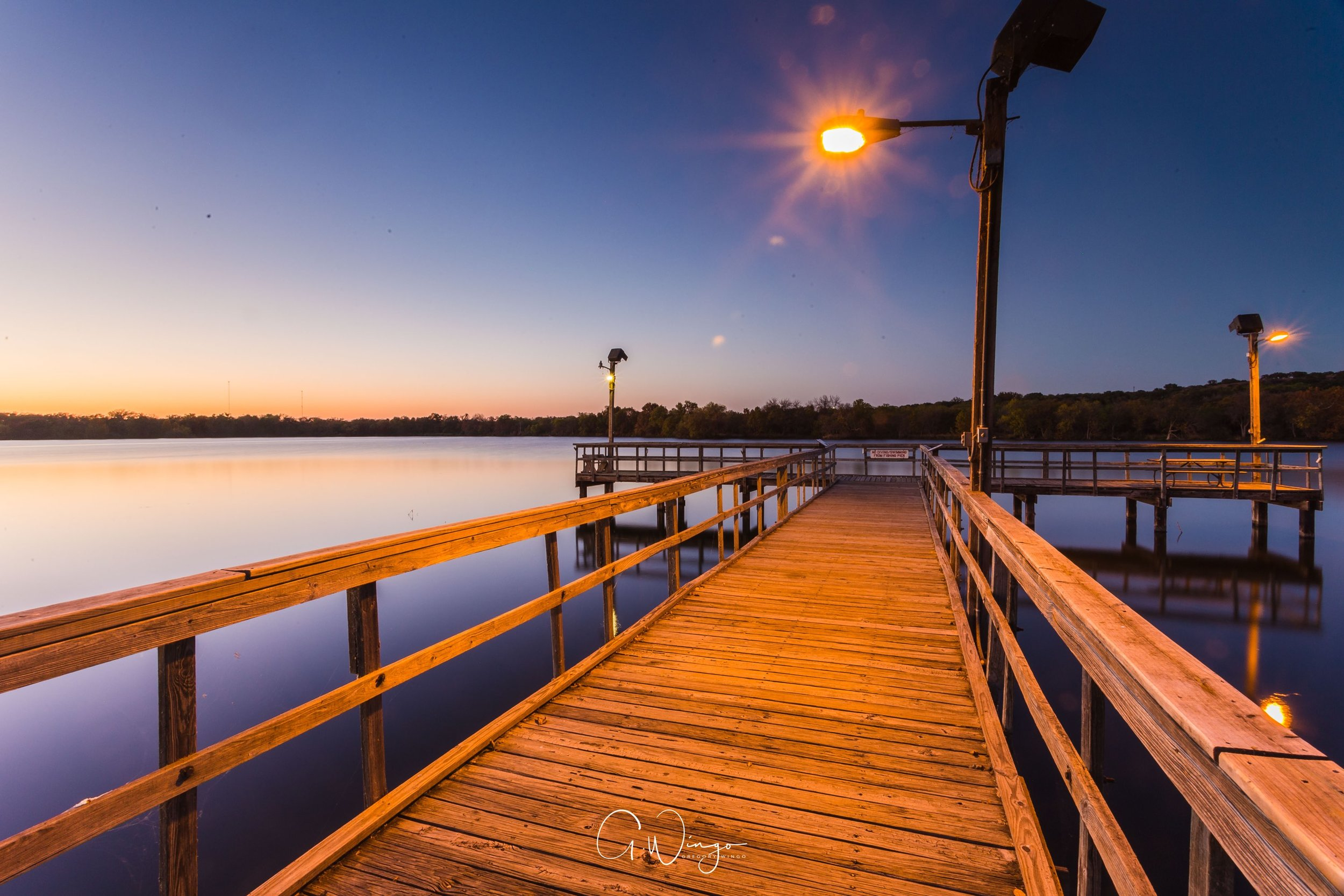 Sunset at the fishing pier at Inks Lake in Burnet, TX. Again, excuse my sensor dust.  December 1, 2017.