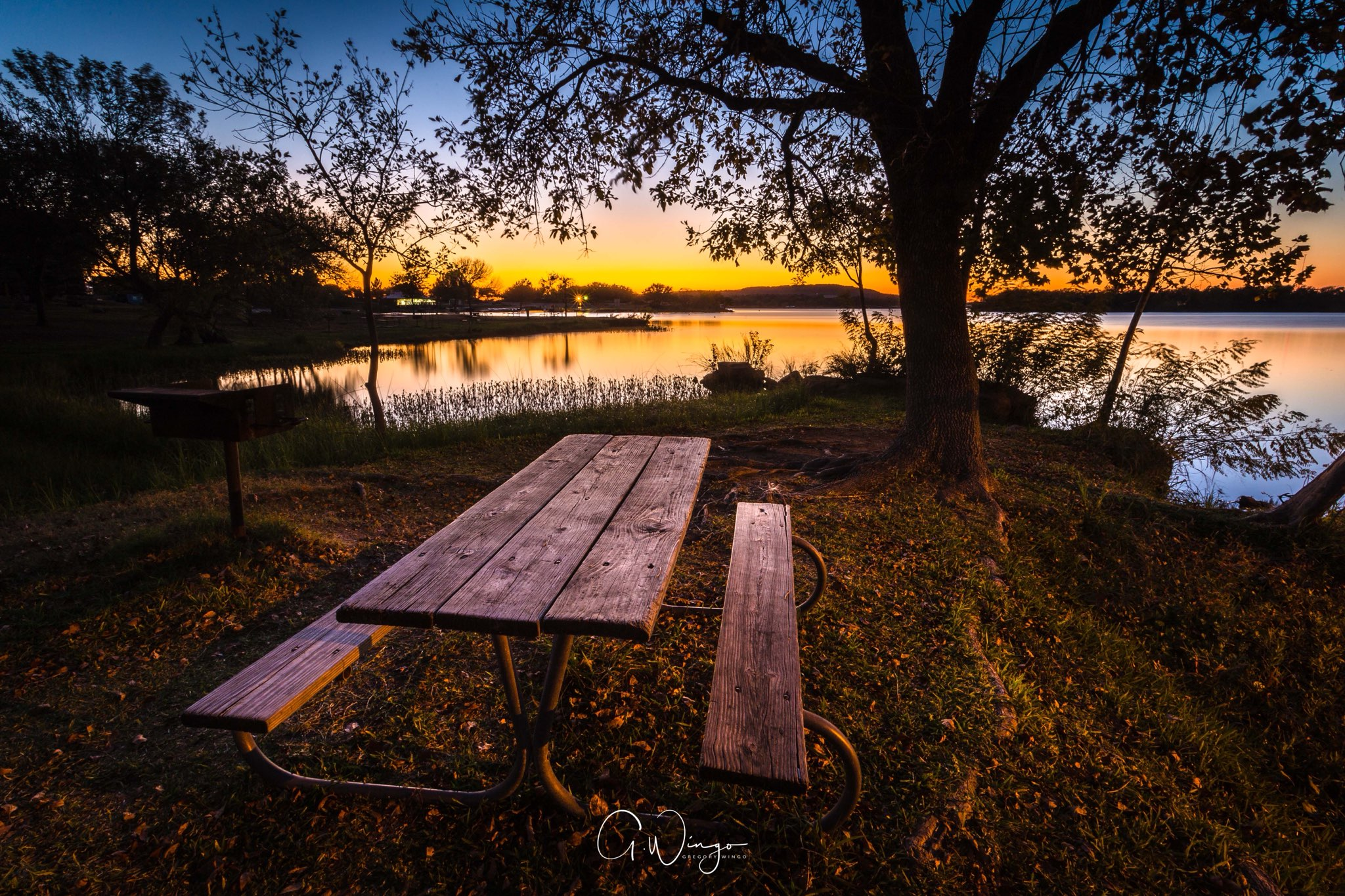 Sunset at Inks Lake in Burnet, TX.  December 1, 2017.