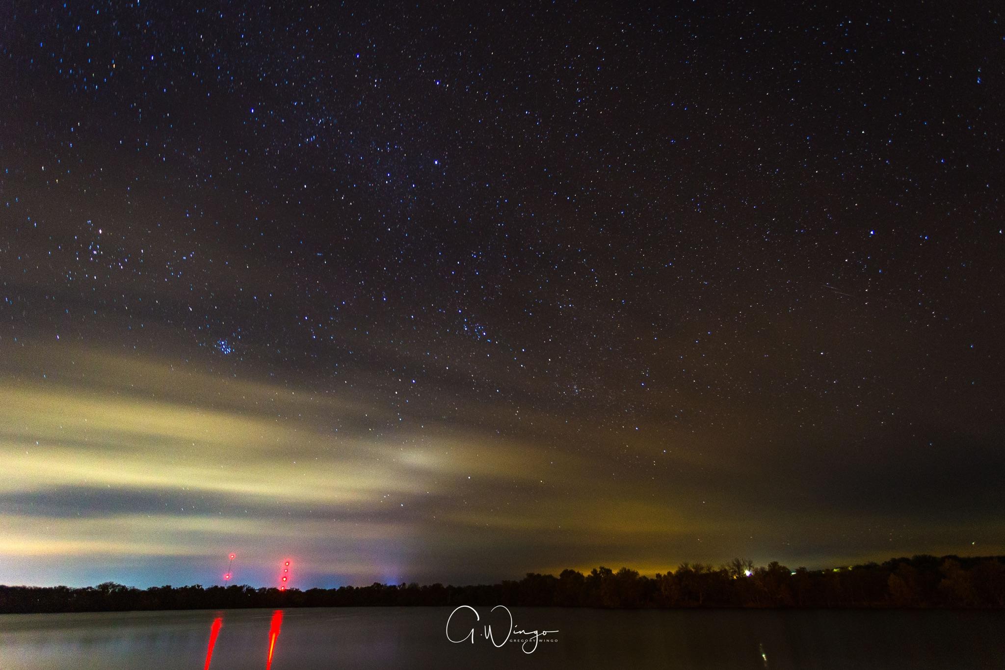 Fog rolling in at night over Inks Lake in Burnet, TX.  December 1, 2017.
