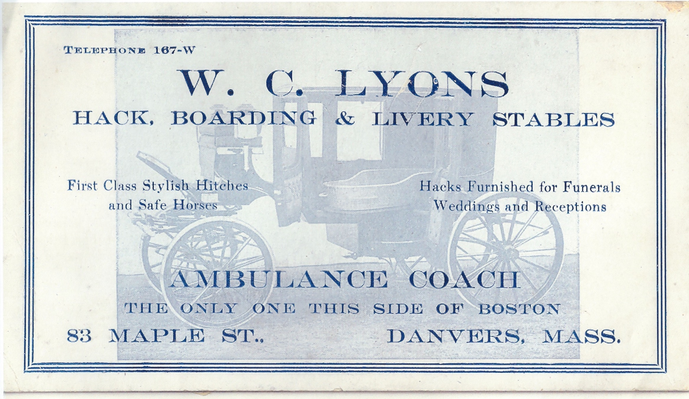 Ink blotter advertising featuring first ambulance coach