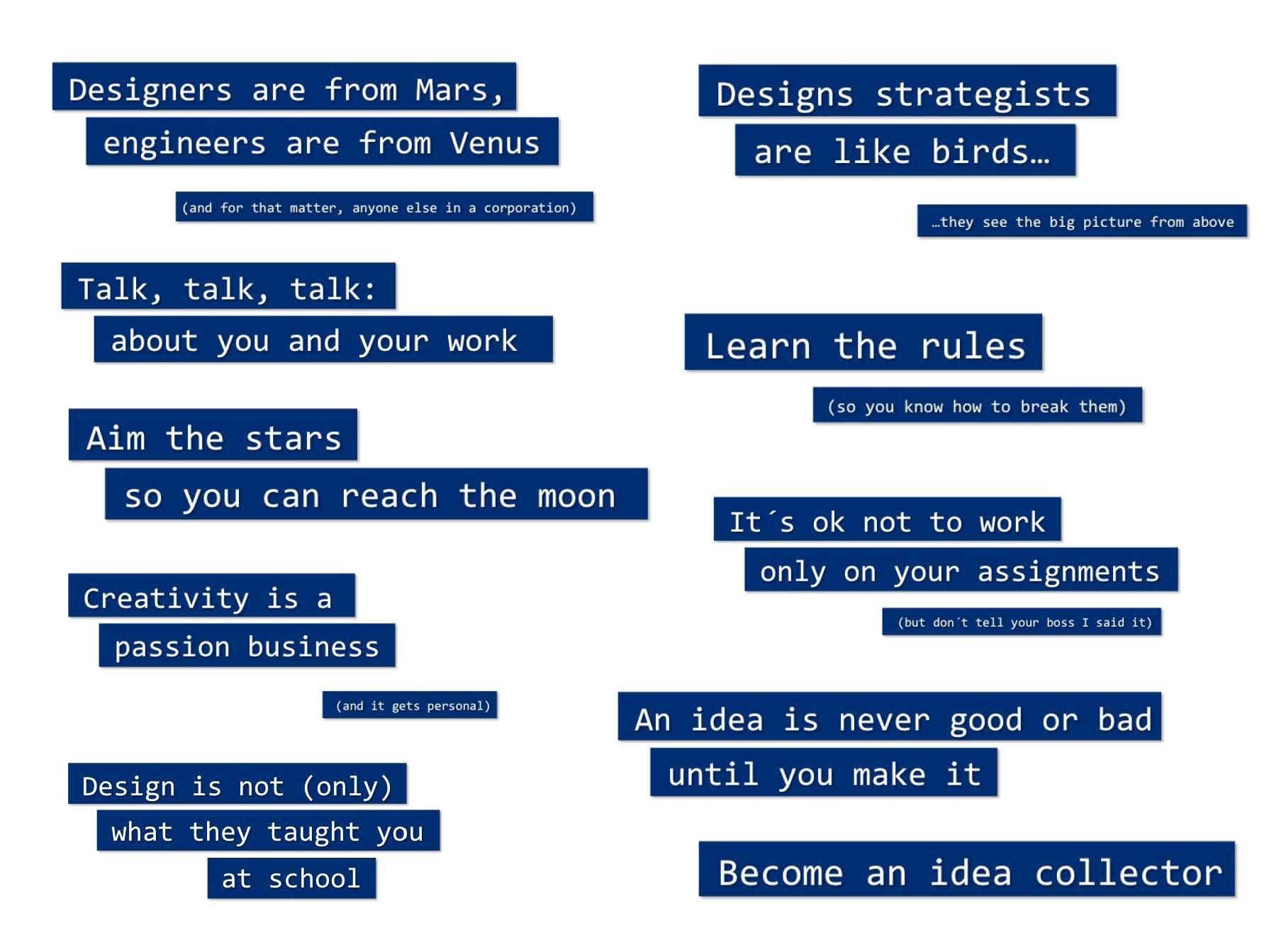 """Conferencia """"Cómo convertirse en diseñador estratégico"""", sobre el establecimiento y mantenimiento de una competencia estrategia creativa dentro de la empresa."""