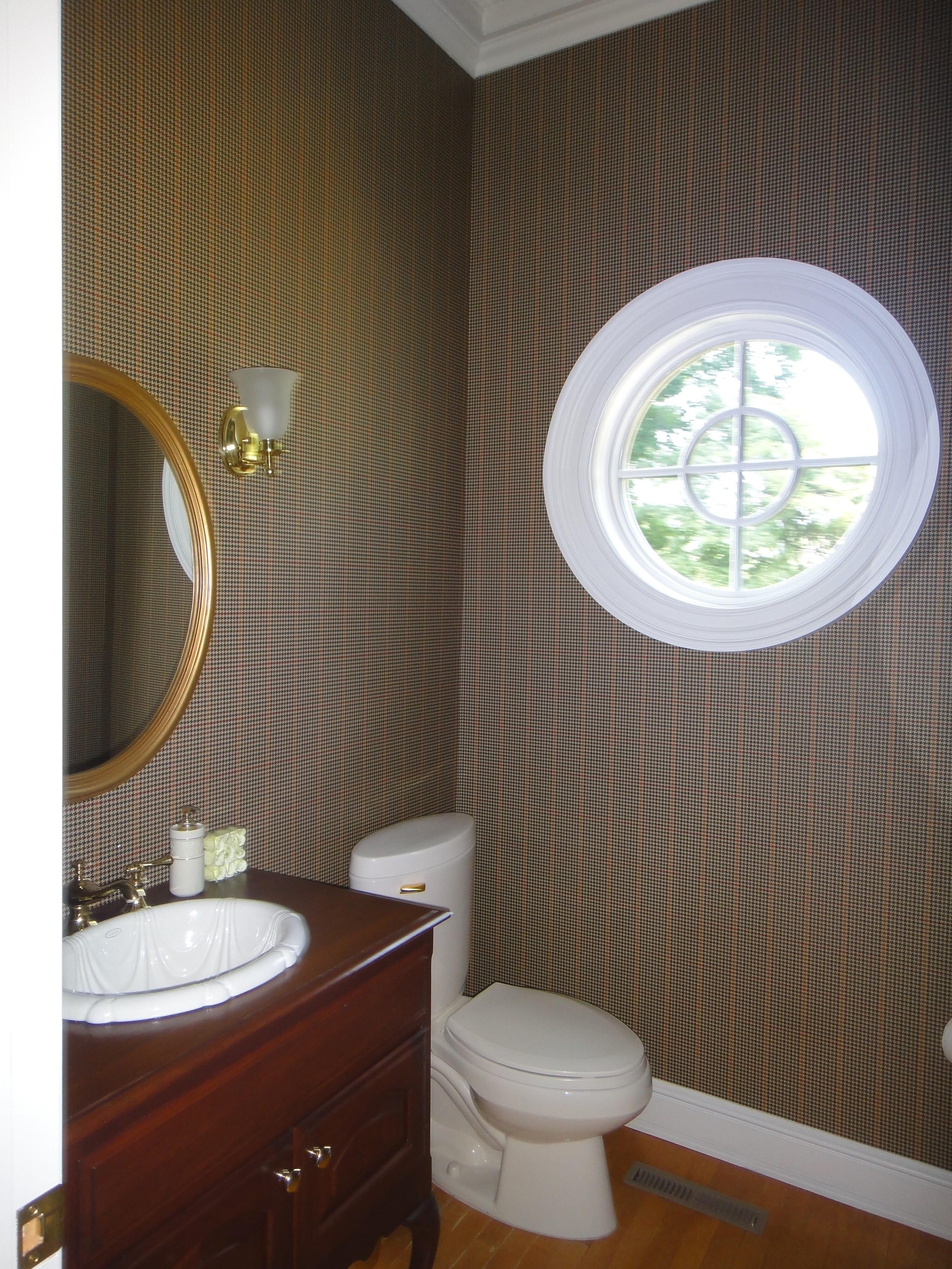 Plaid wallpaper, 'fauxhogany' sink vanityw/Roman swag fantasy sink...