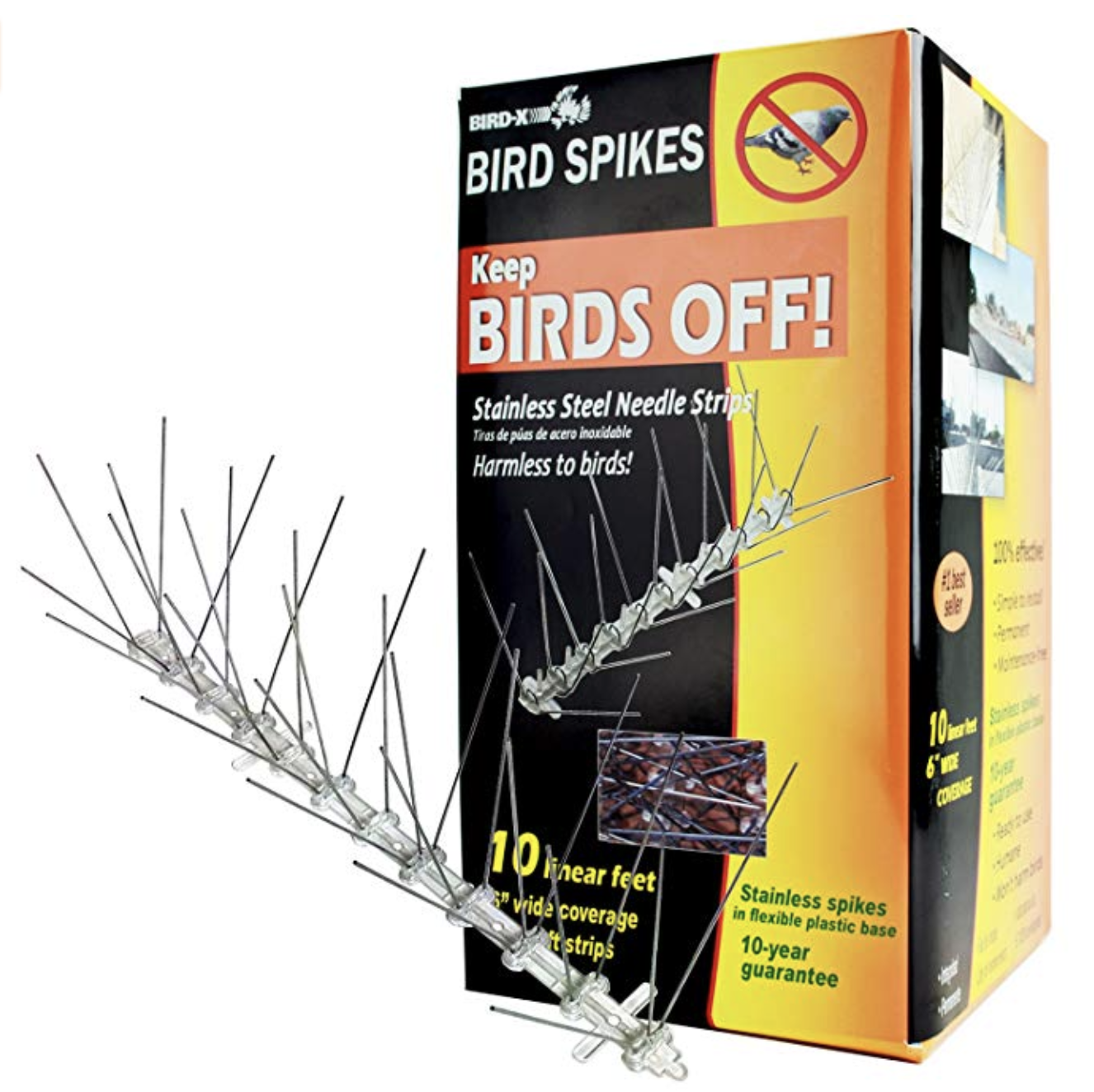 Purchased one of these Bird-X Stainless Steel Bird Spikes Kit covers 10 Feet from  Amazon