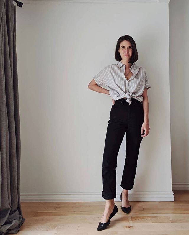 @petraalexandra in #WhattaMan black and the casual knotted button down...I feel like all this pic needs is a glass of red wine, but fine I guess it is only 9:30am🍷 . . . #irisdenim #slowfashion #ethicalfashion #torontodesign #highwaistedjeans #vintagefit #madeincanada #ethicalblogger