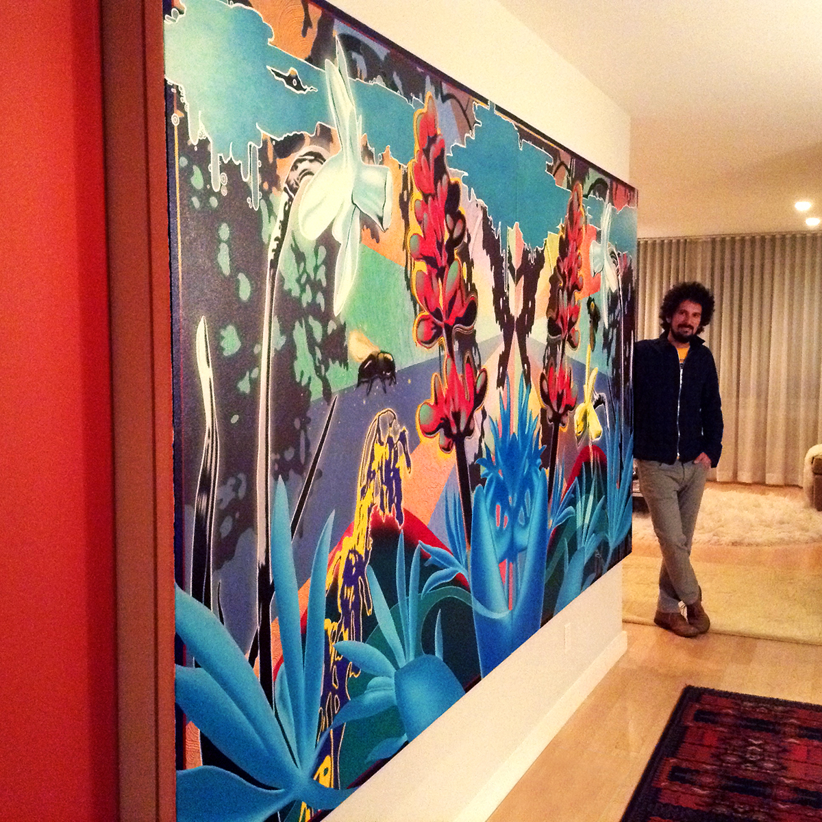 Toxiganic Garden Lupinus Diptych-Installation Veiw in Private Collector's Home