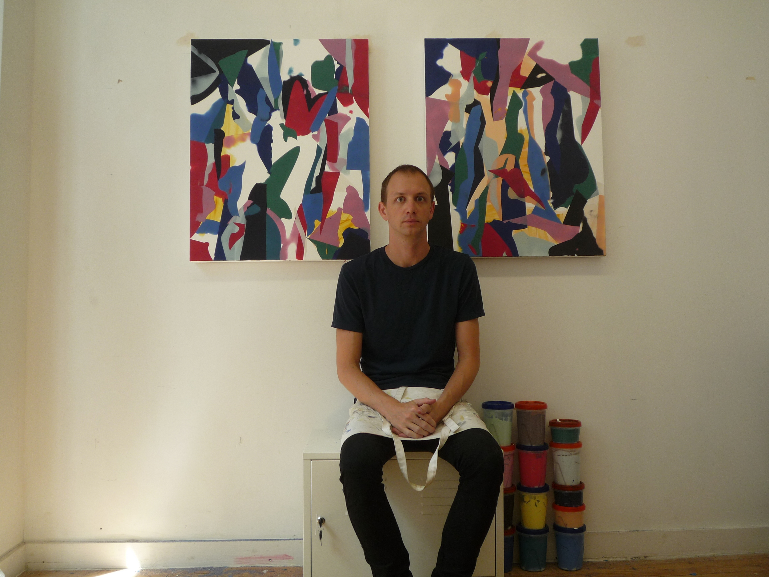 "The artist in front of his paintings. ""A Social Experiment,"" Salomon Contemporary, Watermill, NY(2011)"