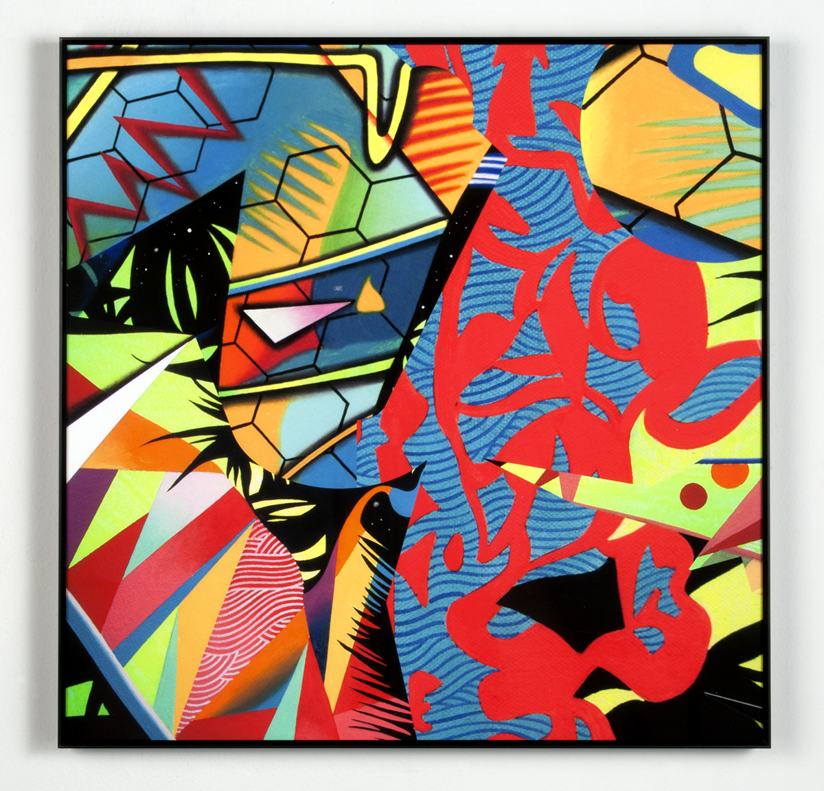 Rappstraction II Remix     2014    Hand-colored archival print w/ gouache & acrylic on paper    12 x12 in. framed