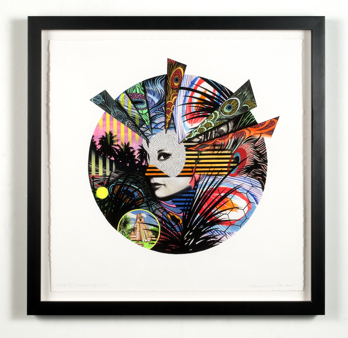 """Peacock Opera Mask   2014  Hand-colored archival print with gouache and acrylic on paper  16"""" x16"""" framed"""