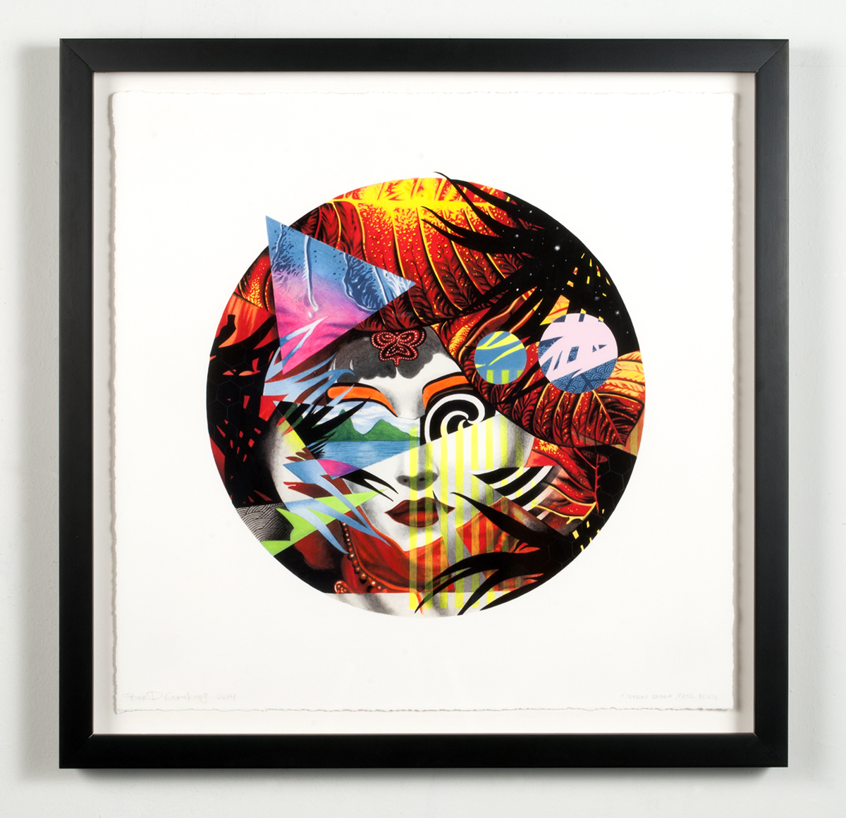 """Piton Opera Mask Remix  2014  Hand-colored archival print with gouache and acrylic on paper  16"""" x16"""" framed"""