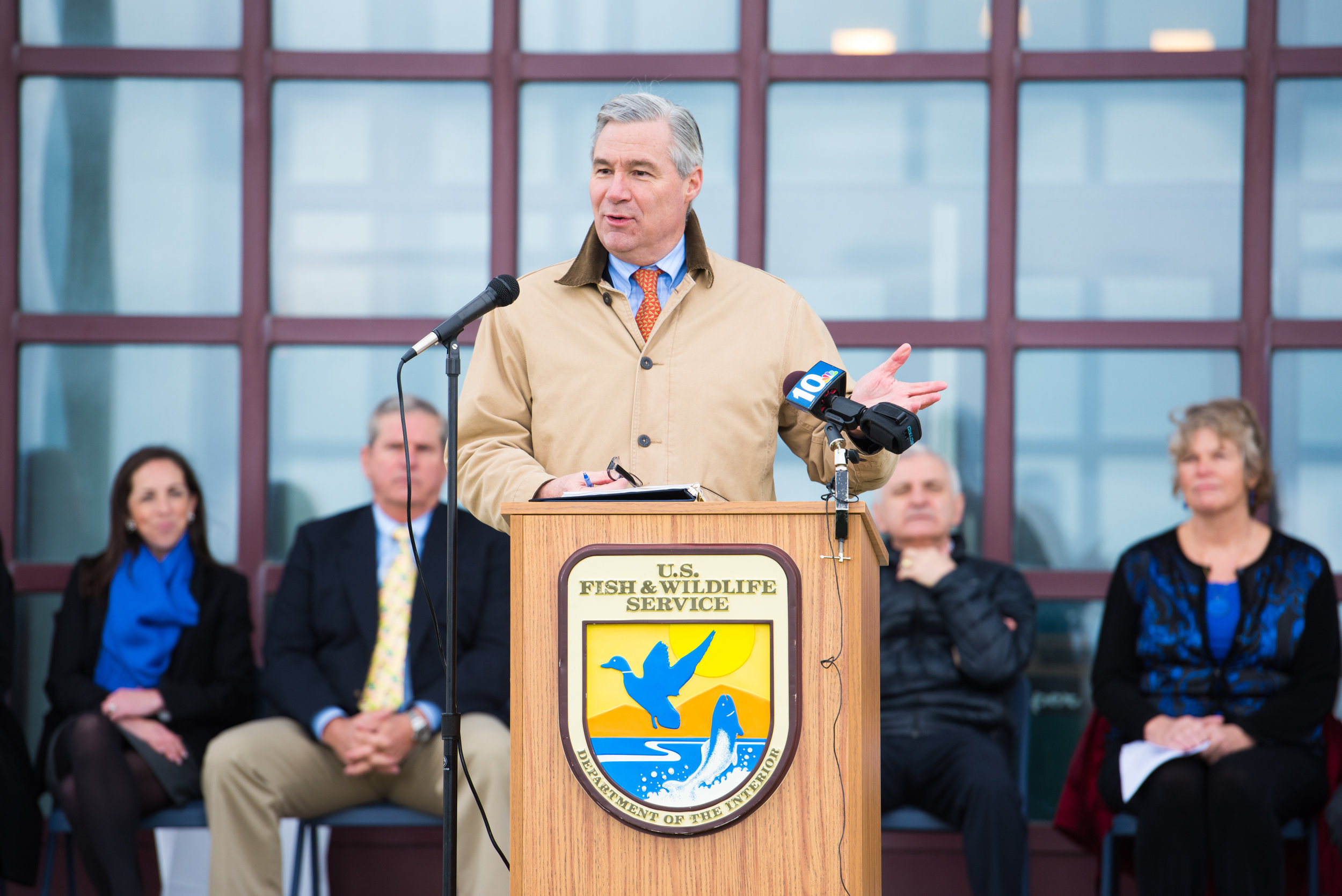 U.S. Senator for Rhode Island Sheldon Whitehouse addressing the community at the project completion ceremony.  Photo courtesy Andrea Hansen Photography.