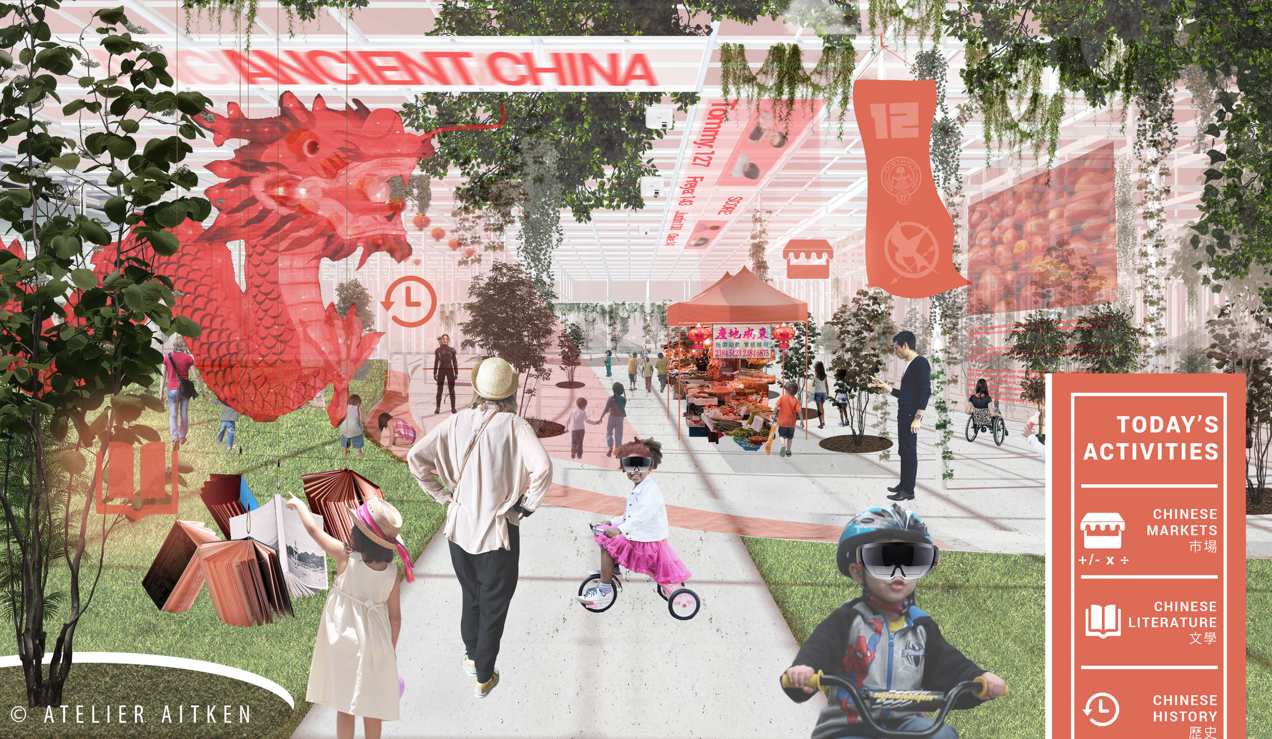 Cultural Immersion: This image shows how the future school may look when exploring Ancient China. Augmented reality tools, such as the Microsoft HoloLens, could allow for the creation of virtual elements such as markets so students can practice their mathematics and foreign language skills. Traditional learning methods will always be welcome such as reading books from our book chandeliers. The actual structure would be adapted to reflect local environments, materials and cultural landscape.