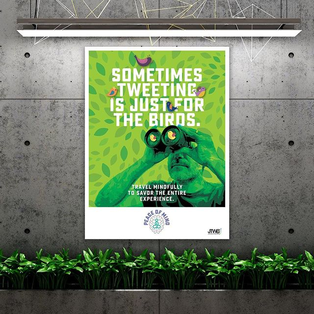 PEACE OF MIND PROGRAM POSTER – Use your senses to connect with your surroundings – not your phone. Travel mindfully to savor the entire experience. Peace of Mind is another in a series of Affinion Group's Mindfulness Programs designed  to help make positive changes in employee's mental & emotional well-being. – #ostrodesign #affiniongroup #graphicdesign #branddesign #posterdesign #design #designer #visualidentity #visualidentitydesign #putdownthephone #disconnect #happiness #joy #wellness #mindfulness #peaceofmind #wellnesscampaign #humanresources #shrm