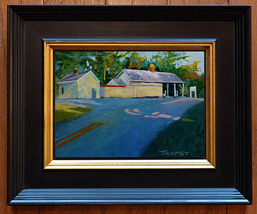 """""""Virginia Country Store"""", Twomey, oil custom framed    Click Here to be taken to the auction for the custom framed, original oil painting by Catherine Twomey.  This original, custom framed oil painting by internationally award-winning artist Catherine Twomey speaks to the nostalgia of warm summer days. Painted en plein air (outside, on site), it is of a Virginia General Store. It oozes the heat and light of a late summer afternoon, where the old pumps sit waiting for their next customer along the shadowed country road.  I painted this building because it has become an old friend; I pass it almost daily. It's design and classic beauty were obvious. I spent hours painting it as the day waned, but loved every minute.  On archival linen board, the size of the painting is 5 X 7"""", with the frame it comes to 9.5 X 11"""". The frame is custom made by King of Frames (California) and is a rich brown wood with a gold lining and verywell made, ready to hand. It sets the painting off beautifully and will enhance any setting.  The colors, texture, contrasts of light and shadow evoke the emotions of the 1940's, when this store was built. It is a southern classic still serving a contemporary clientele with dignity and charm.   Background   My artwork has been featured at the world renowned TED (Technology, Education and Design) conference (TED MED in San Diego, on huge high definition screens throughout the exhibition center). I recently won thenationally acclaimed ArtInPlace competition in Virginia which placed a 12' X 24' mural on aluminum of my work, now seen by thousands of commuters daily.  Two museums currently house my art: The William H. Benton Museum in Connecticut, and The LLoyd Museum in Cincinnati, Ohio. It was a great honor to be asked to exhibit and I continue to add to their collections. Speaking of collections, my work is a part of hundreds of private collections worldwide.  I've won many national and international awards for my artwork, and ama published author which """