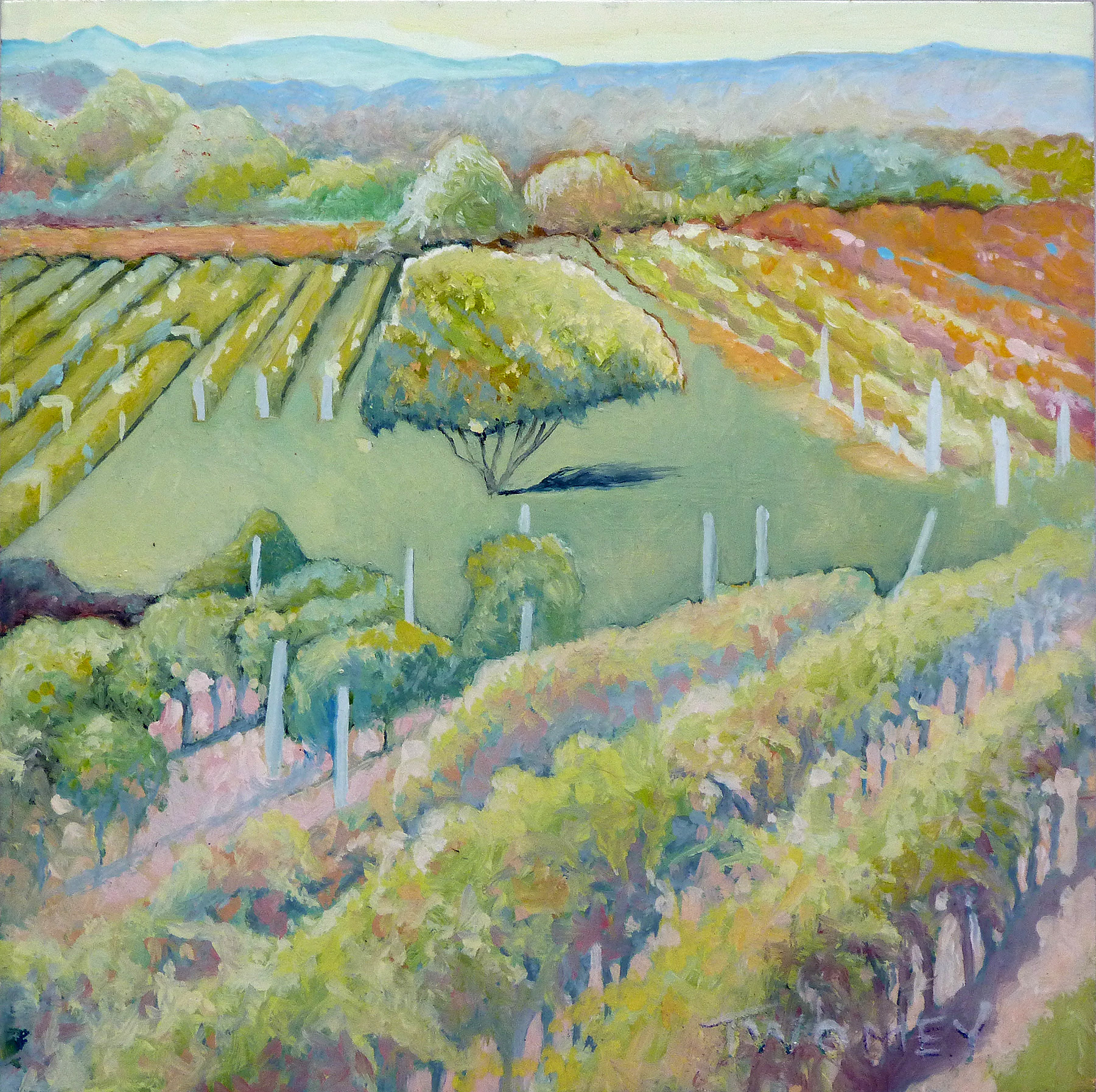 """East Coast Vineyards I"" by C. Twomey, 6 X 6 Oil, Framed"