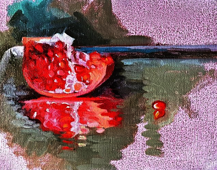 """Pomegranate Sketch"", 6 X 8"", oil on linen"