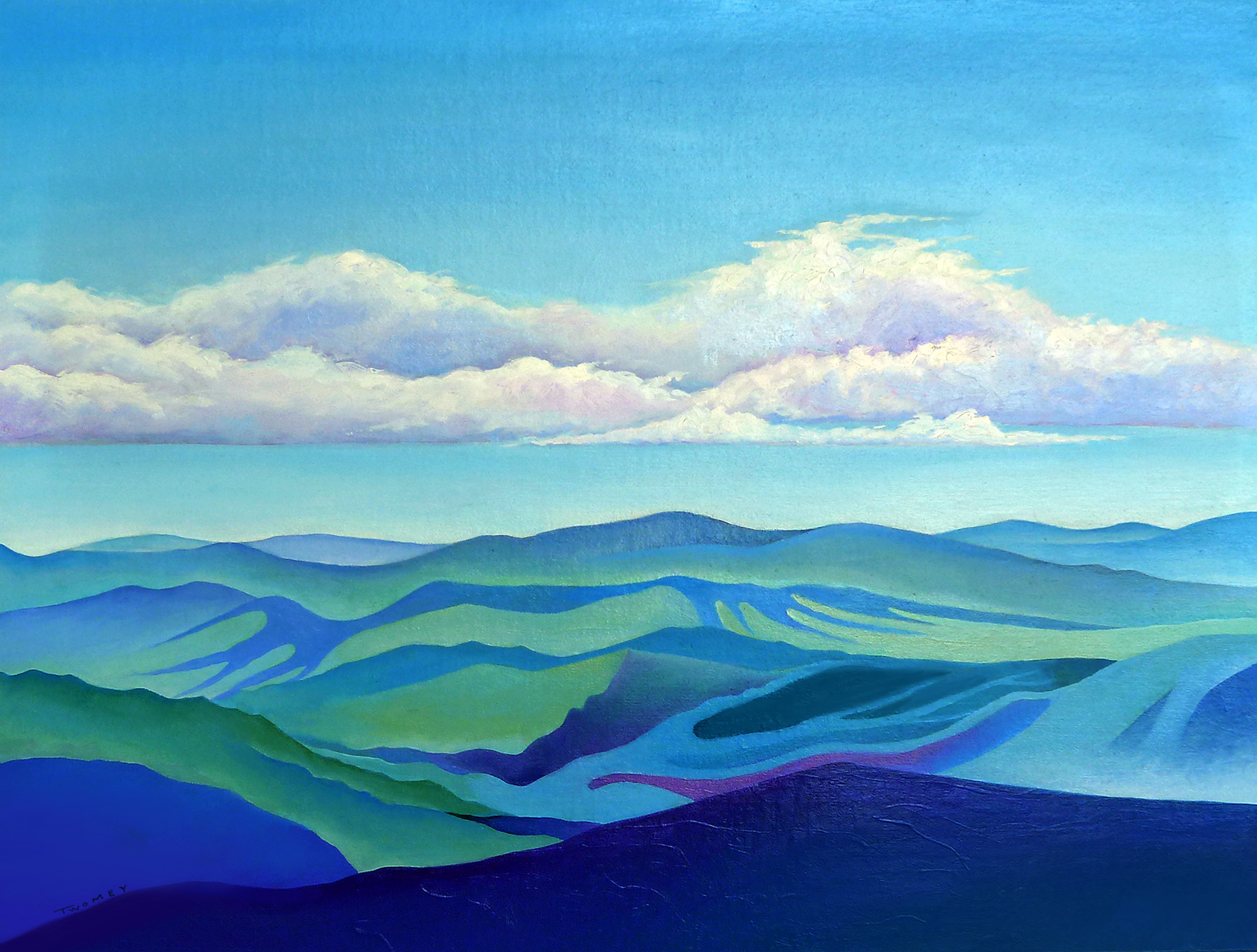"Cloud Shadows Oceans of Mountains; 18 X 24"", oil"