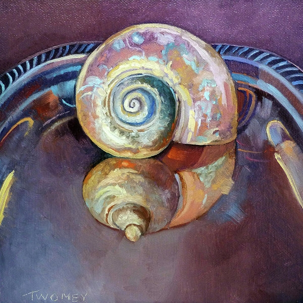 """""""Seashell Served Up On A Silver Platter"""" by C. Twomey, oil."""