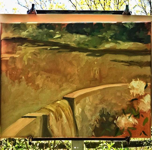 """""""Dam, Kenilworth Lake, After the Rains"""" 11X14"""", oil plein air"""