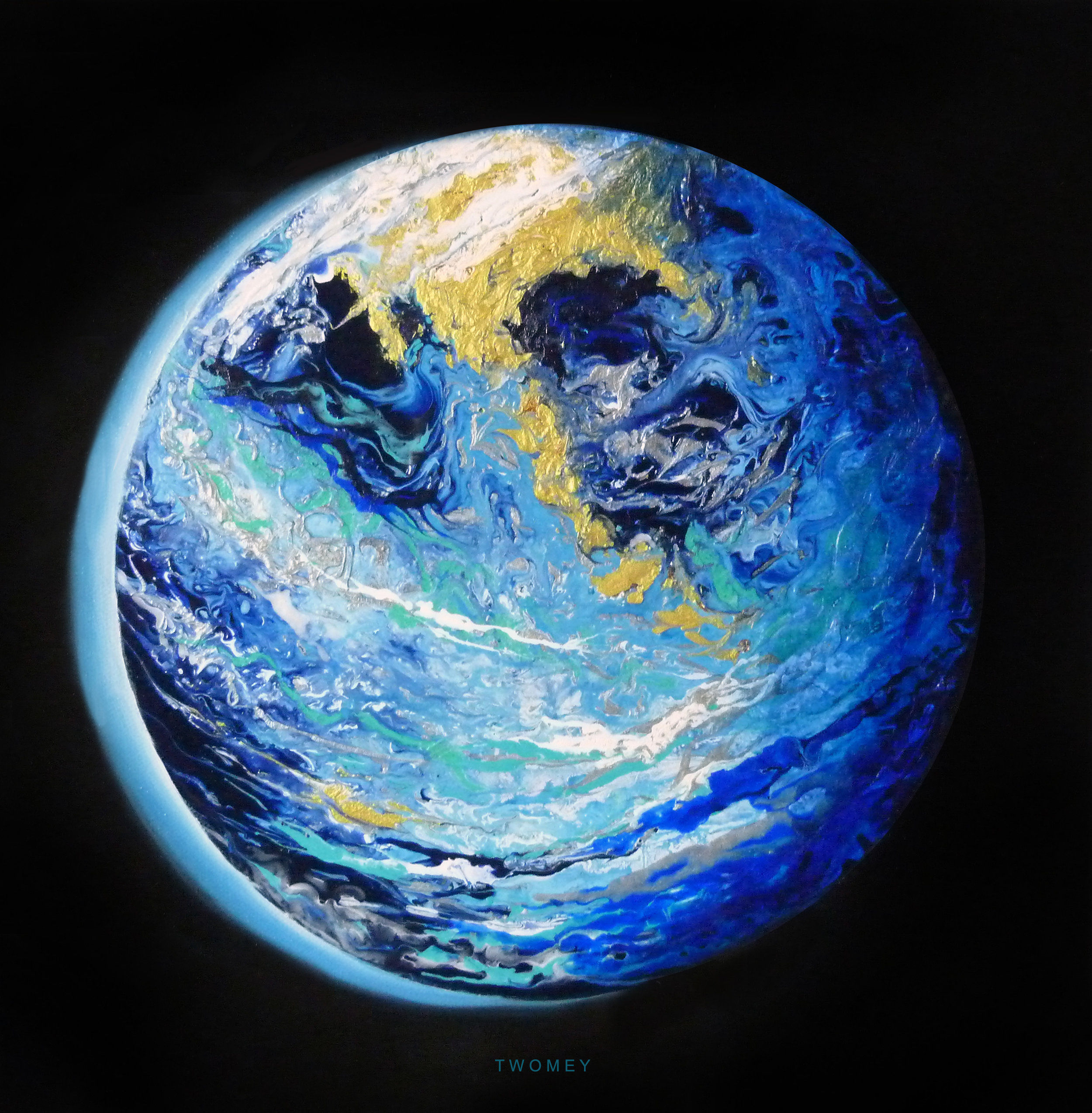 """Blue Marble Earth 2.0"" 12X12"", acrylic and oil on canvas"