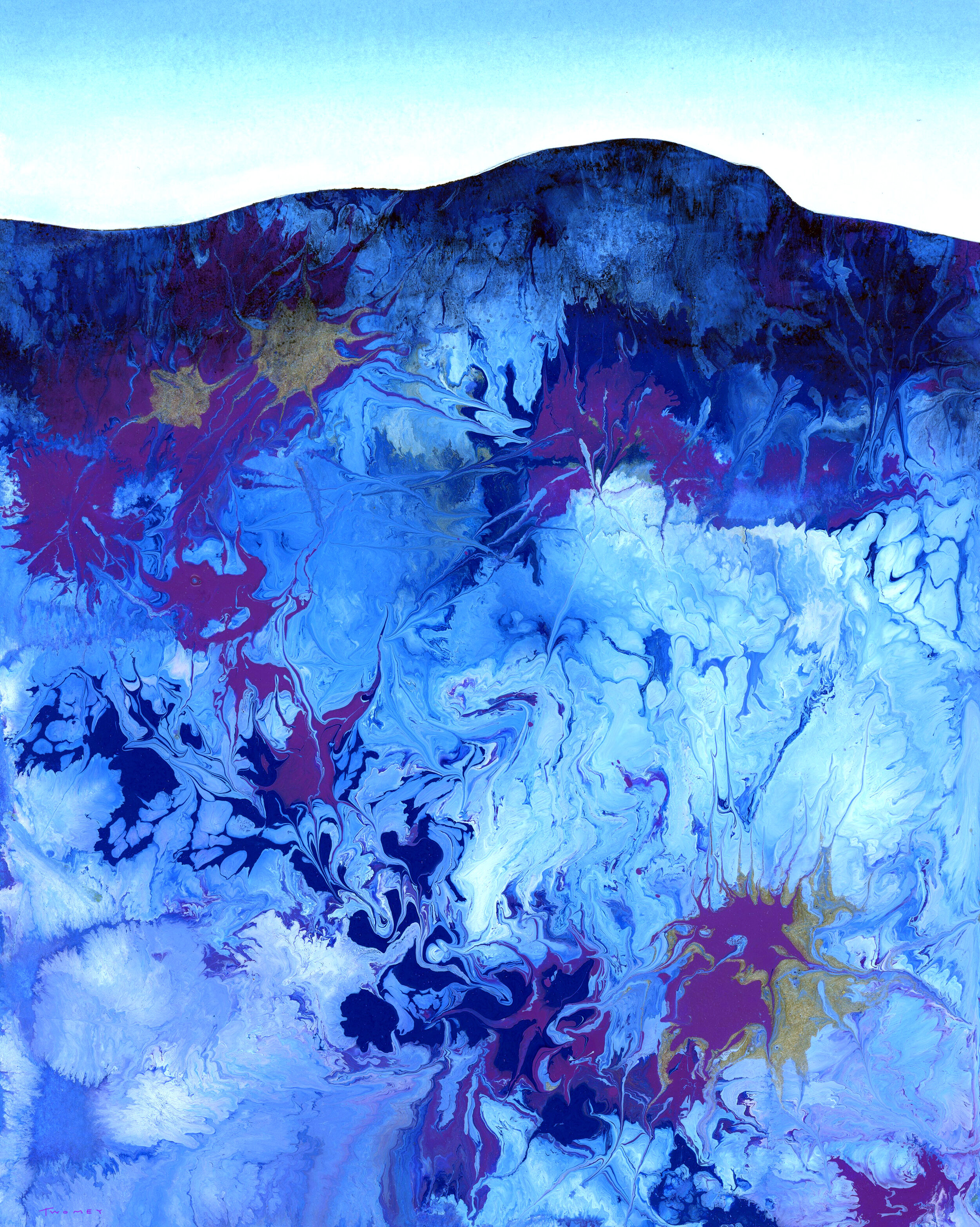 """Ecosystem Mountain"" by C. Twomey, acrylic pour and hand painting"