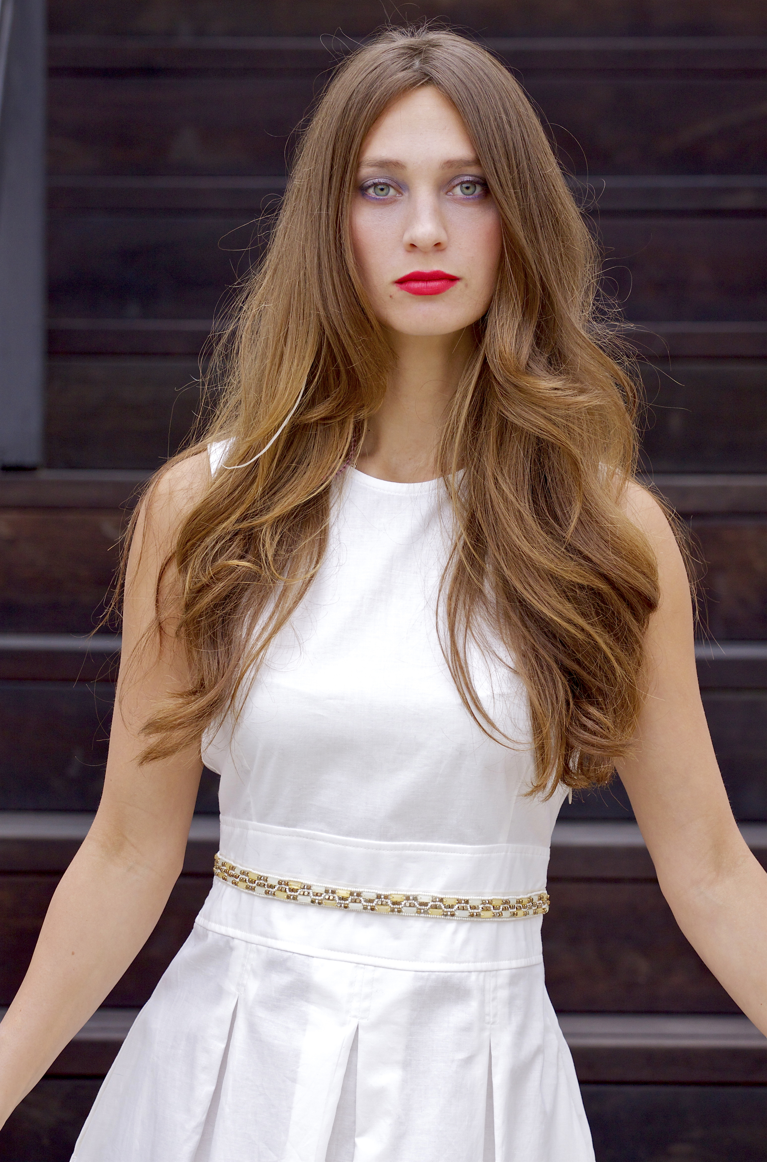 White Midi Dress with Beaded Waist