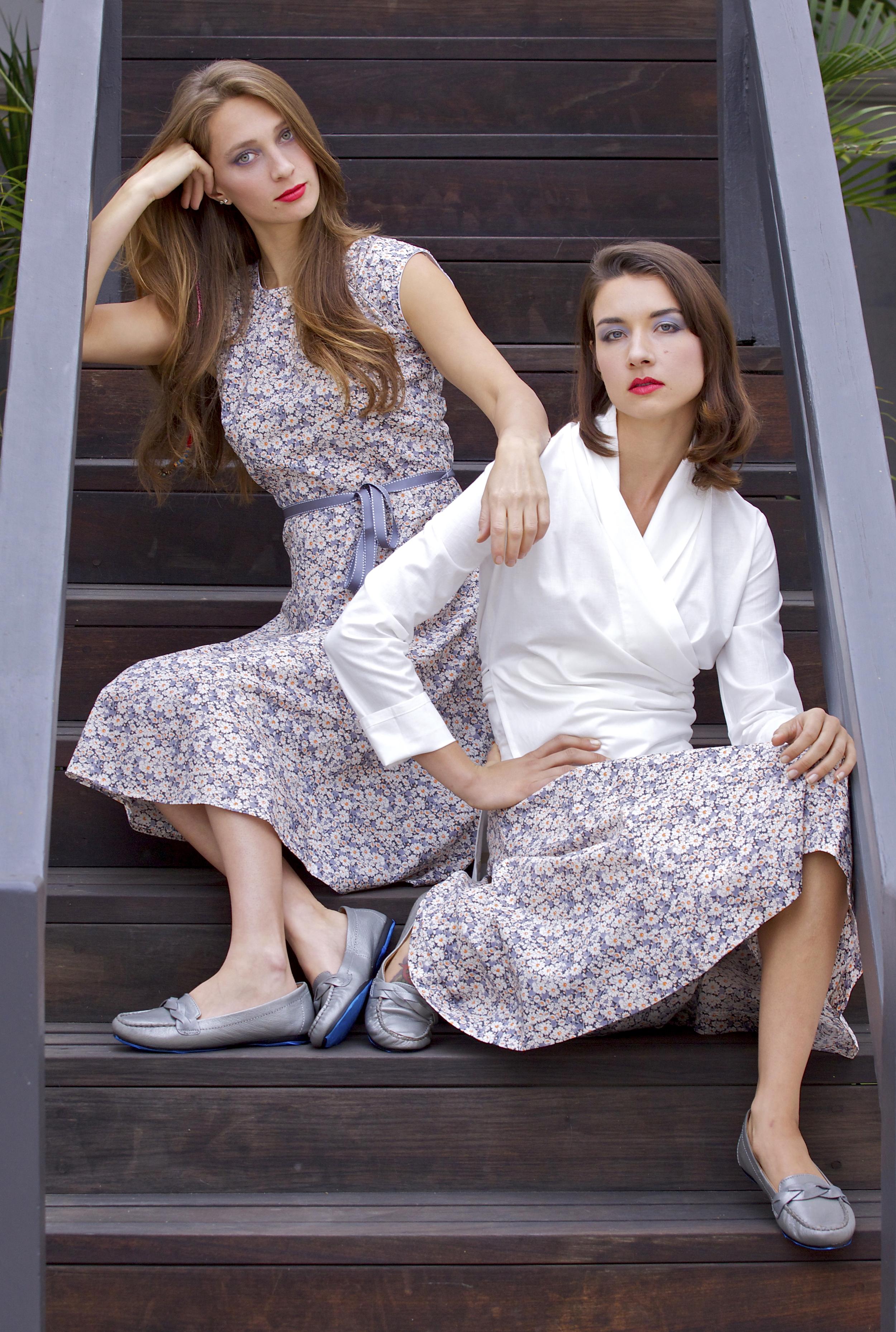 Midi Dress, White Kimono Shirt, Midi Skirt in Liberty Print