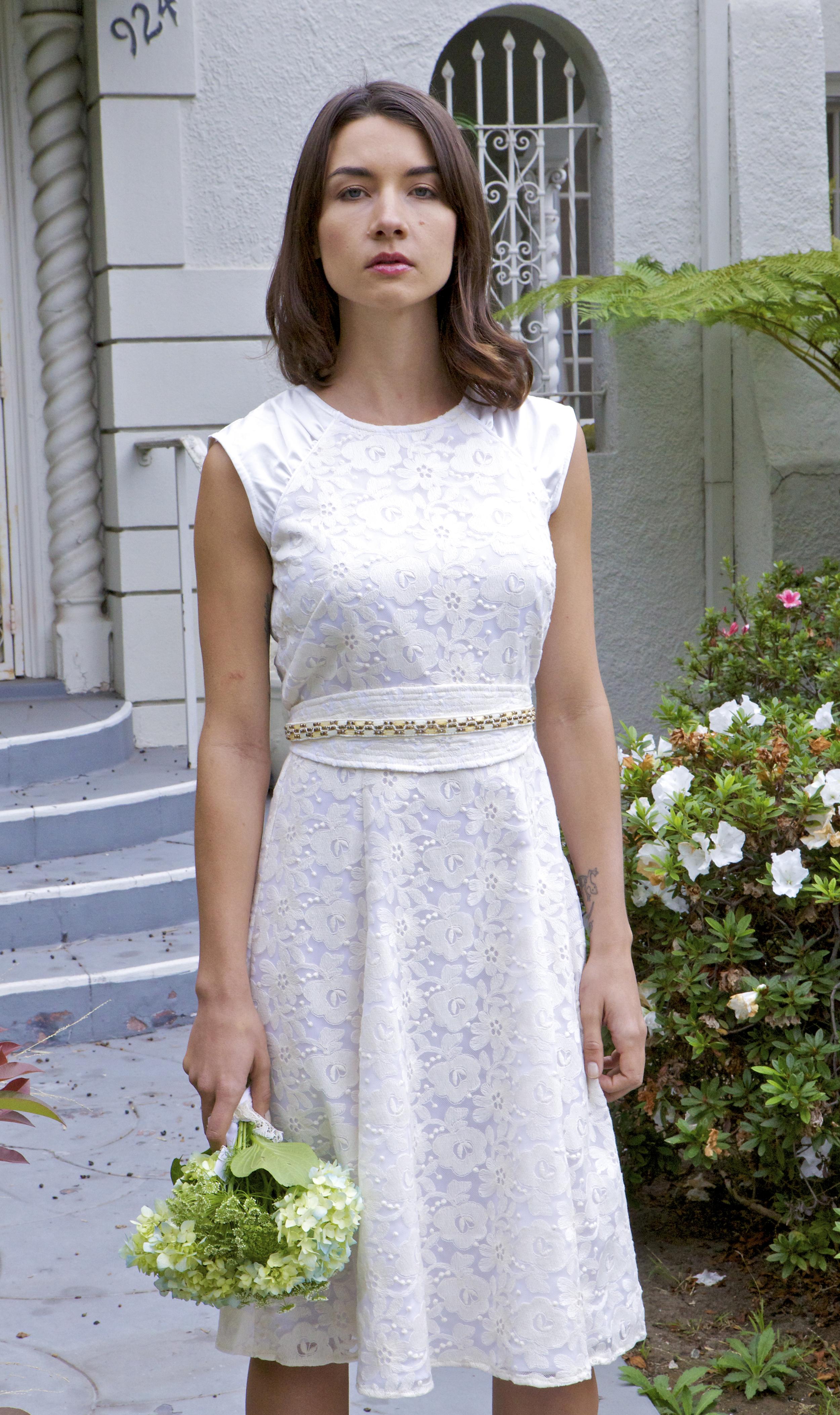 Retro 50's style wedding midi dress with beaded obi belt