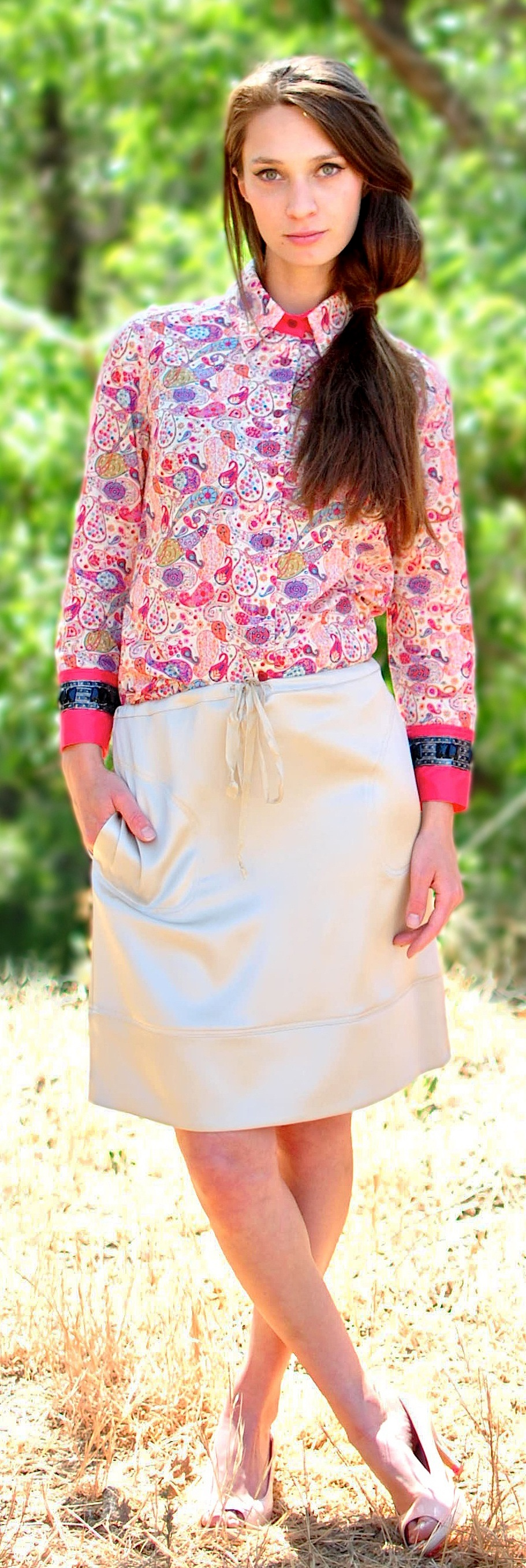 Liberty print button up shirt with jeweled sleeves.