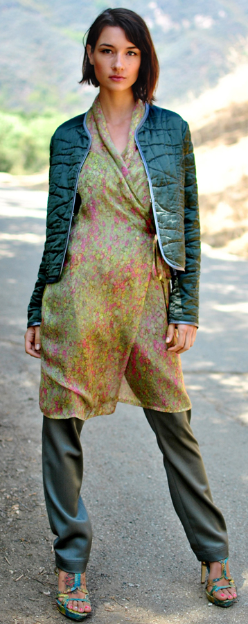Quilted Jacket, Chiffon Dress and Slim Trouser Worn Togeather