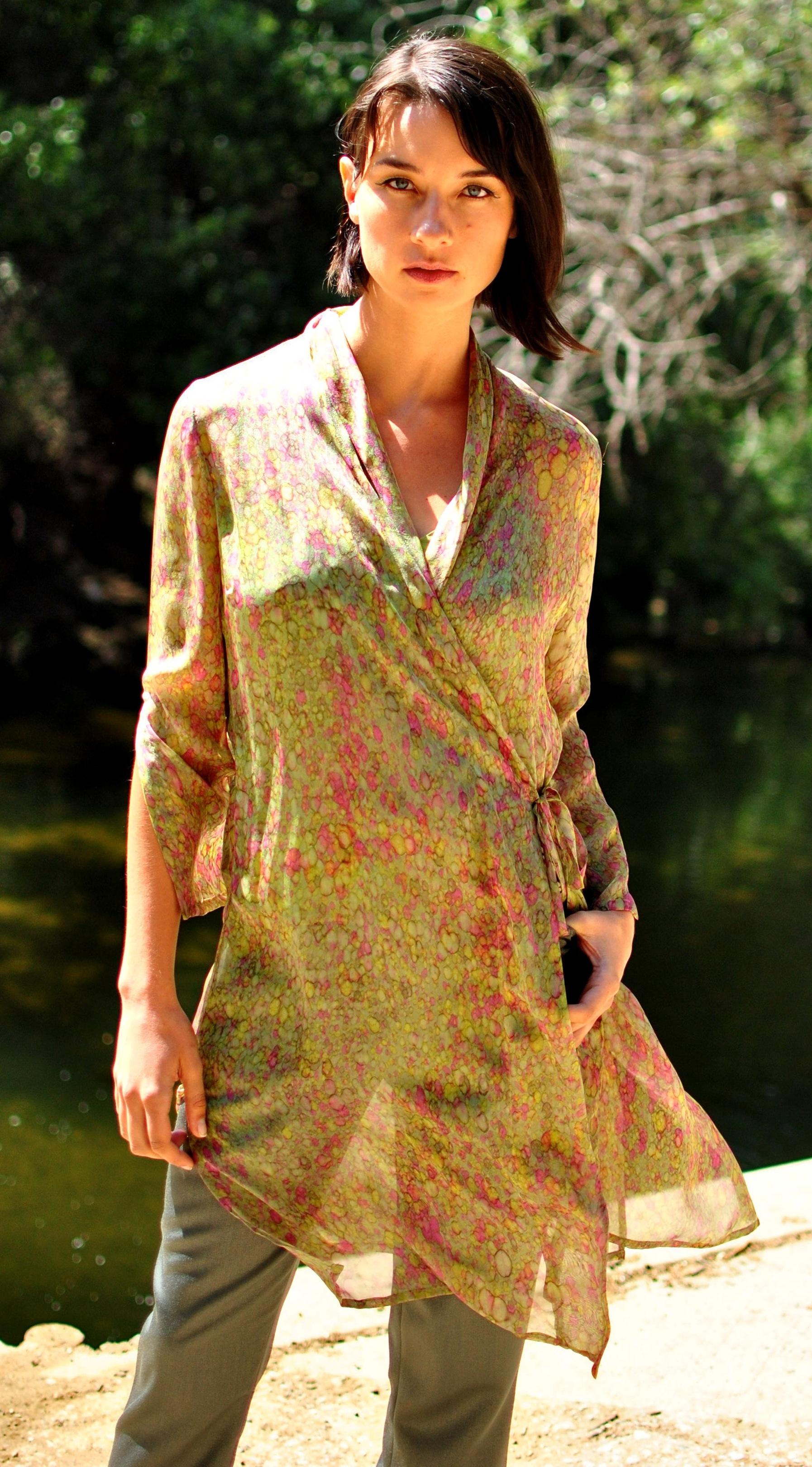 #98-30 Hand-Painted Chiffon Robe-Dress