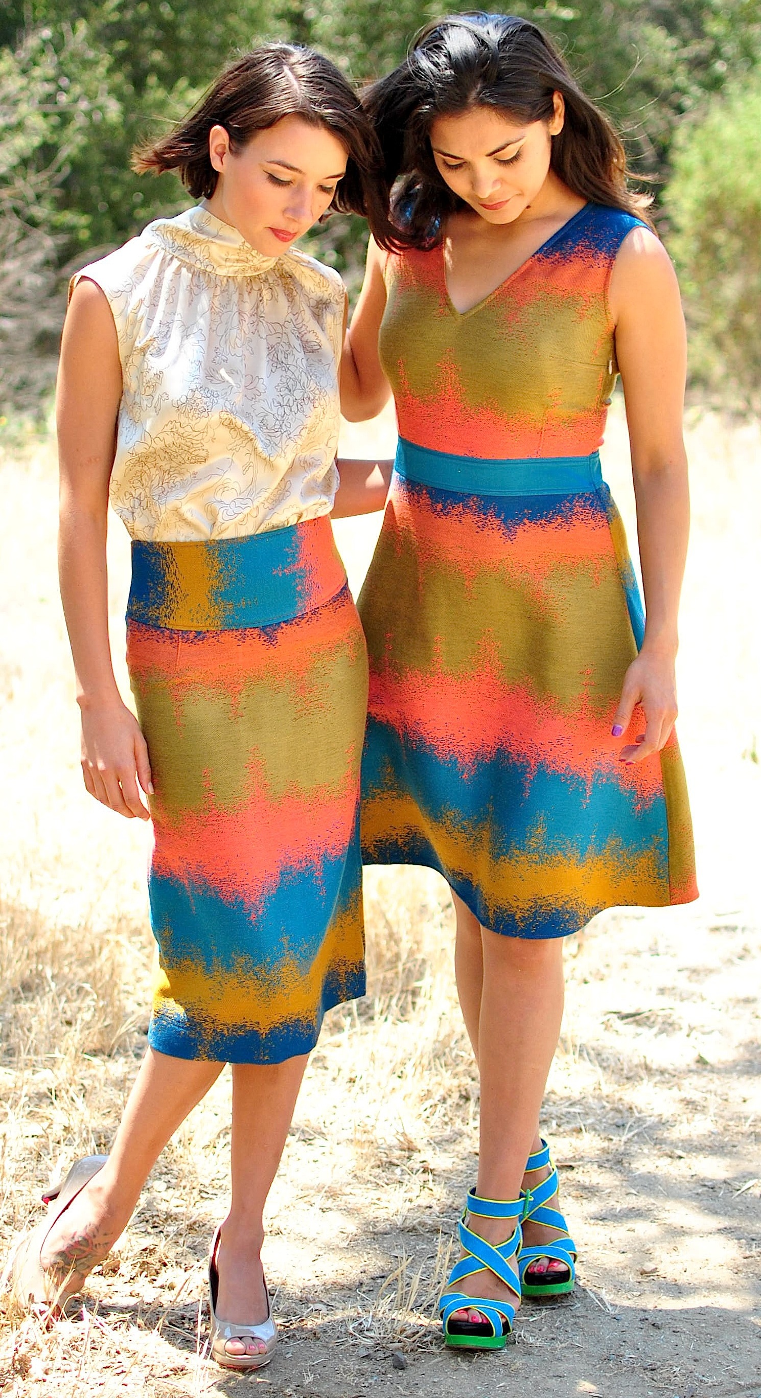 #386B High-Neck Sheath Blouse  in Antique Floral Silk Charmeuse  #373 High-Waisted Pencil Skirt in Couture Jacquard  #277B V-Neck Swing-Dress in   Couture Jacquard w/ Satin Waist