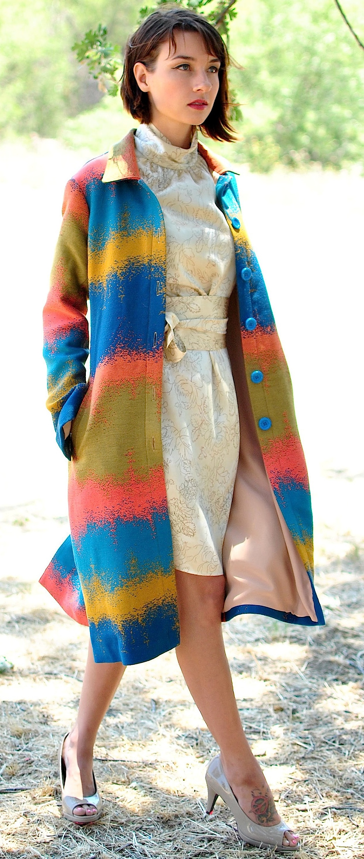 #120 Jacquard Car-Coat  #344B High-Neck Sheath Dress with Obi