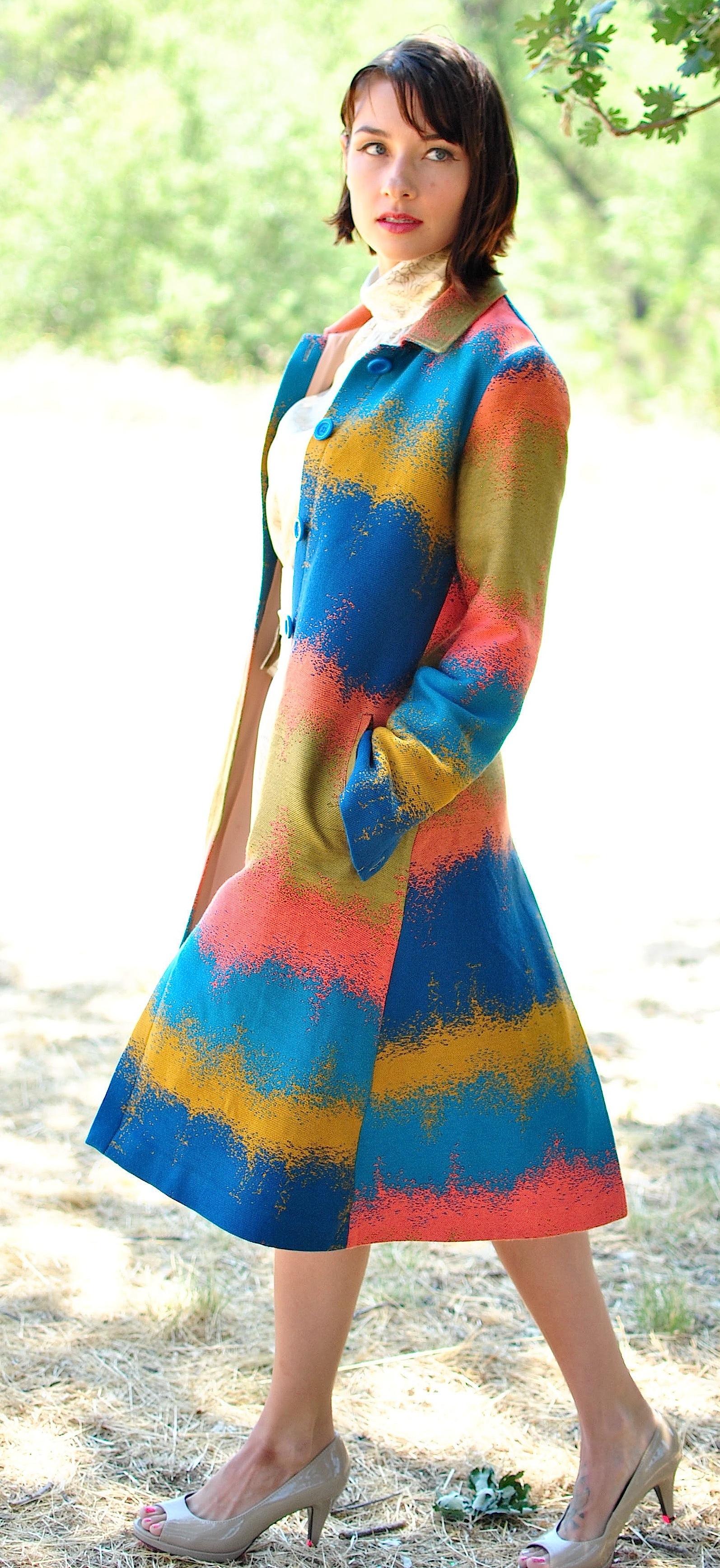 #120 Multicolored Couture Jacquard Car-Coat