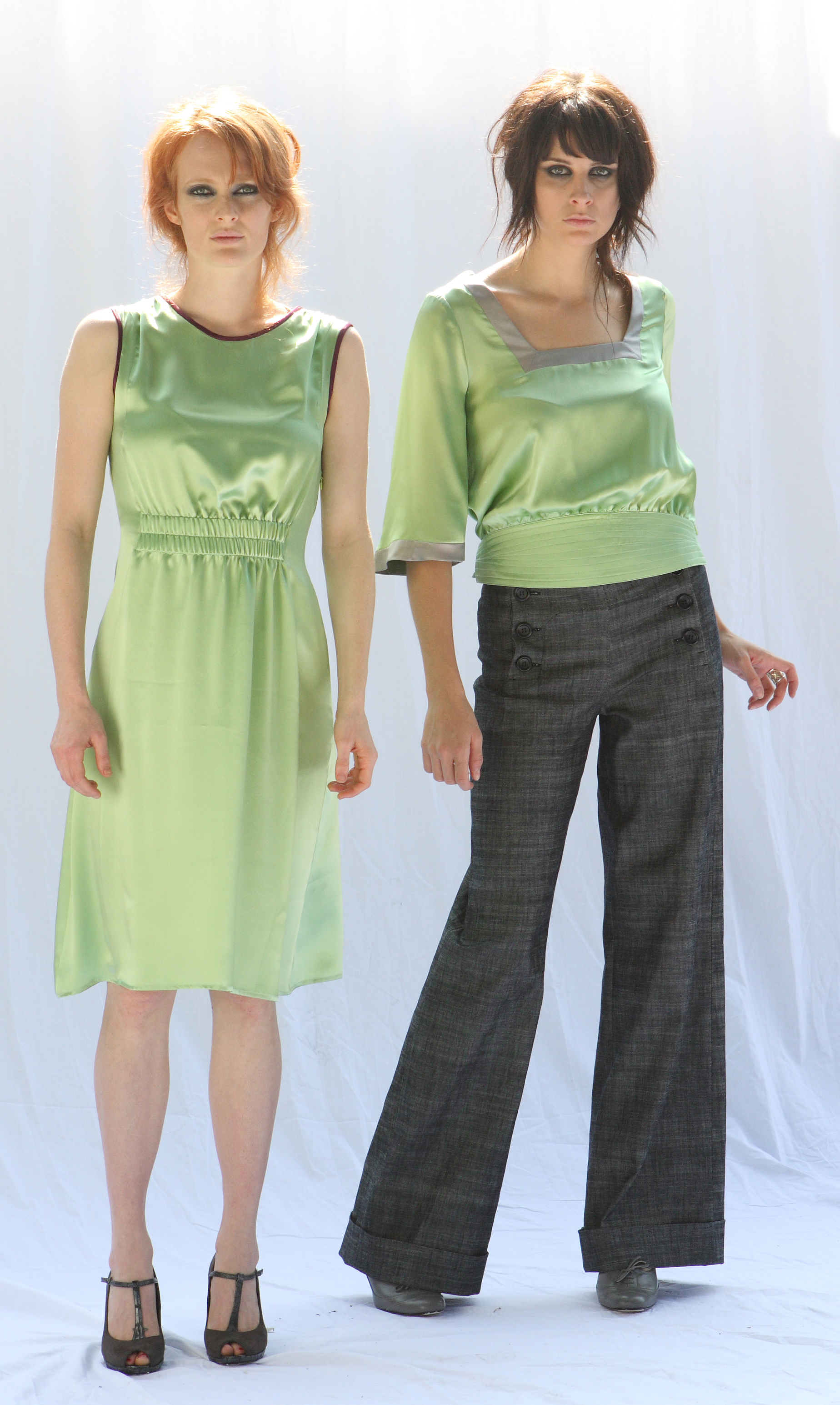 From left to right:   Shirred Waist Sheath Dress in Lime Silk Charmeuse  Quilt Waist Square Neck Blouse in Lime Silk Charmeuse   Cuffed Wide Leg Sailor Pant in Italian Charcoal Stretch Denim
