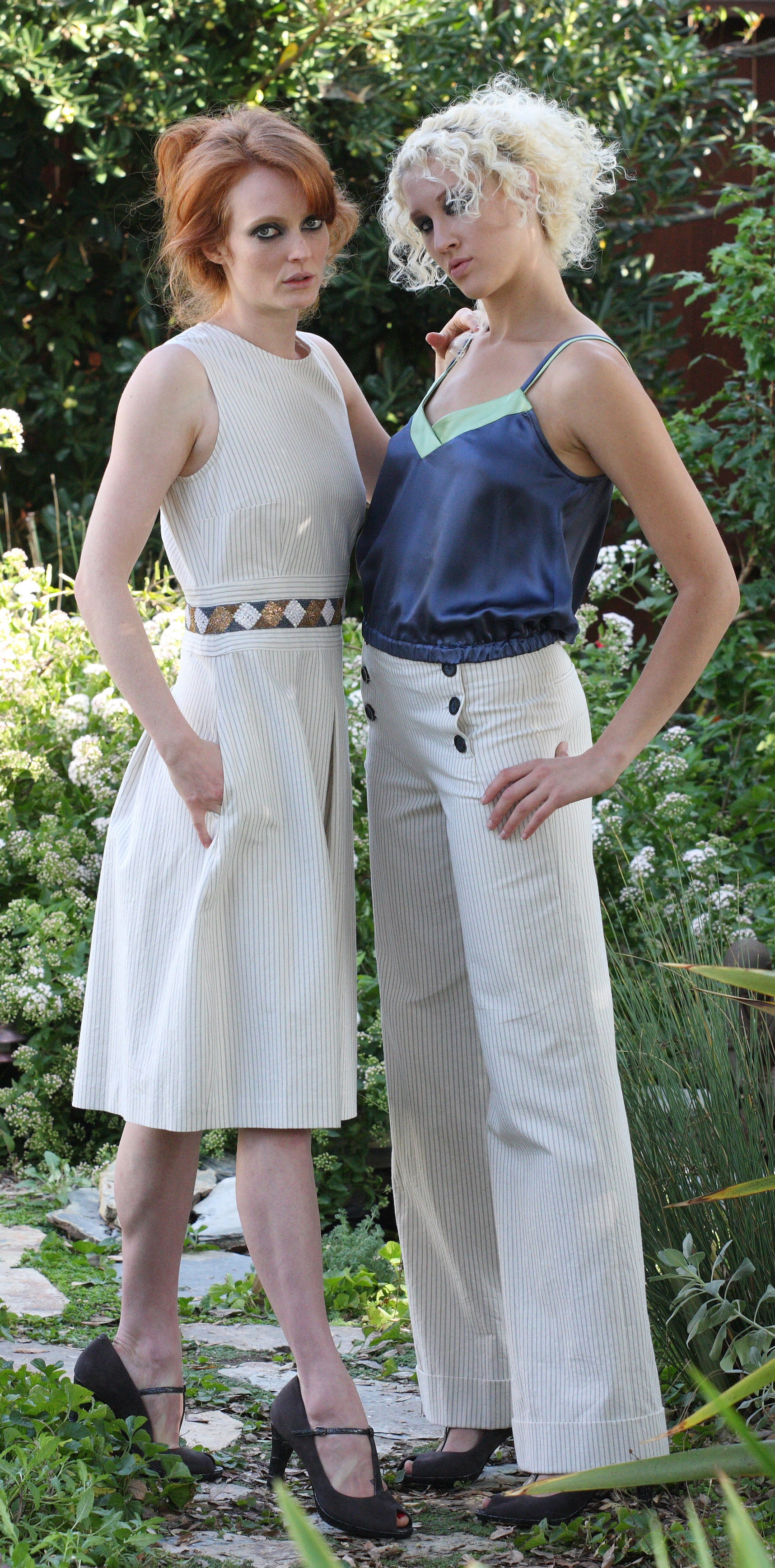 Jewel Pleat Dress in Pinstriped Italian Cotton Twill w/ Beaded Waist  Double Strap V-Cami in Blue Silk Charmeuse   Cuffed Wide Leg Sailor Pant in Pinstriped Italian cotton Twill