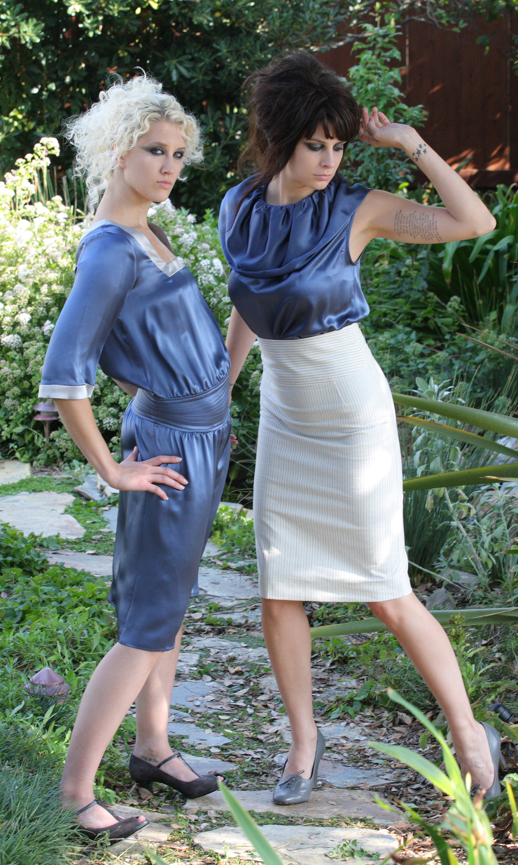 Quilt Waist Square Neck in Blue Silk Charmeuse.  Collar Sheath Blouse in Blue Silk Charmeuse.   High Waist Pencil Skirt in Pinstriped Italian Cotton Twill.