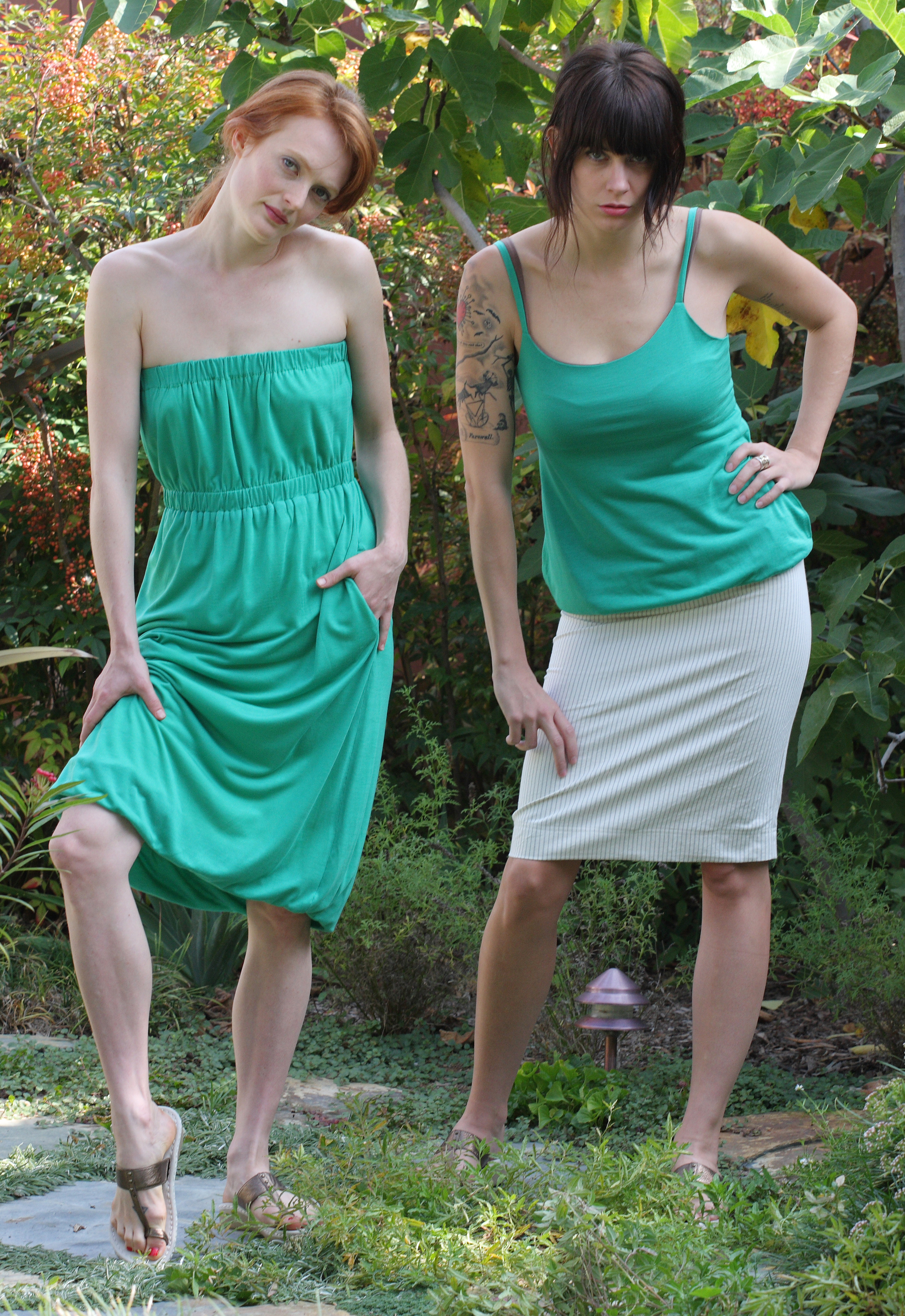 Strapless Pull-On Reversible Dress w/ Pockets in Emerald Butter Jersey  Empire Reversible Blouson Tank w/ Pockets in Emerald Butter Jersey   High Waist Pencil Skirt in Pinstriped Cotton Twill