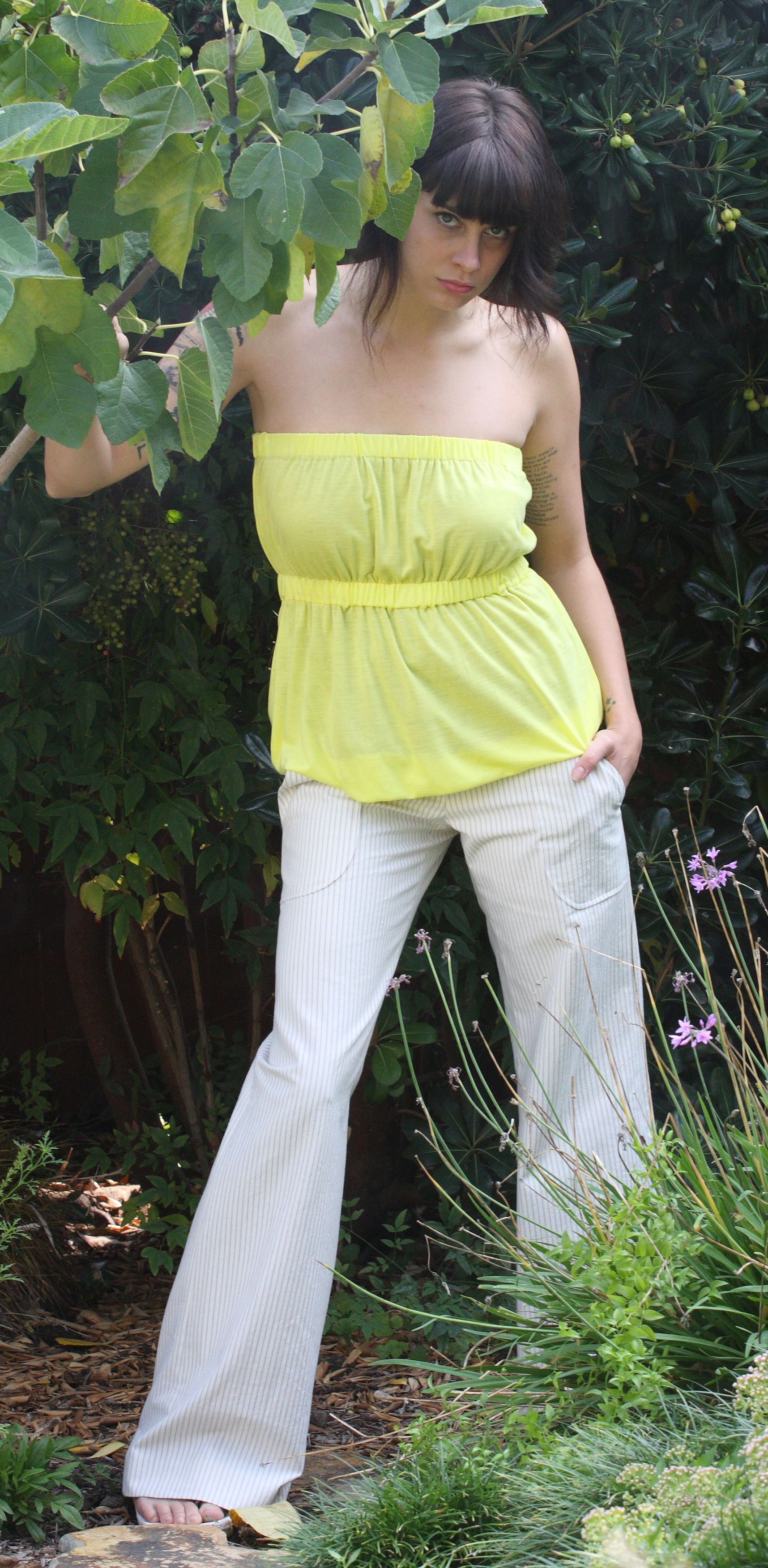 Strapless Pull-On Reversible Top in Yellow Butter Jersey  Wide Leg G.A. Pant in Pinstriped Cotton Twill.