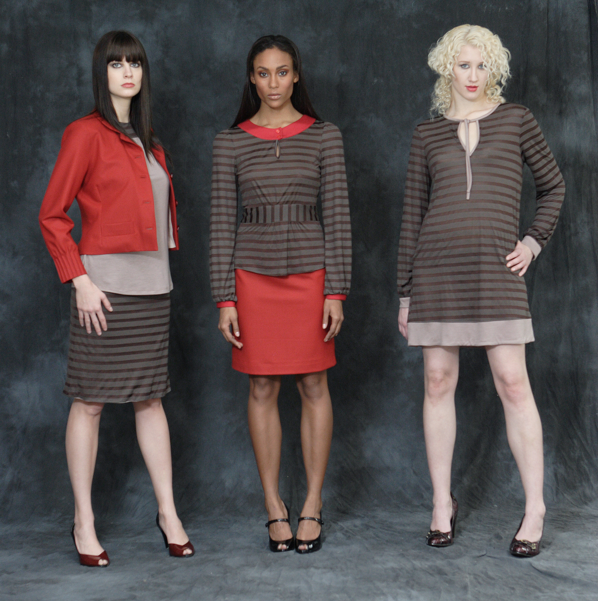 From left to right:   Stretch Wool Flannel Cropped Pin Tuck Jacket.  Jersey Bateau Shell w/ Scarf Belt.  Reversible Jersey Tube Skirt.  Jersey Banded Blouse.  Stretch Wool Flannel Quilt Stitched Mini.           Jersey Cuffed Mini Dress.
