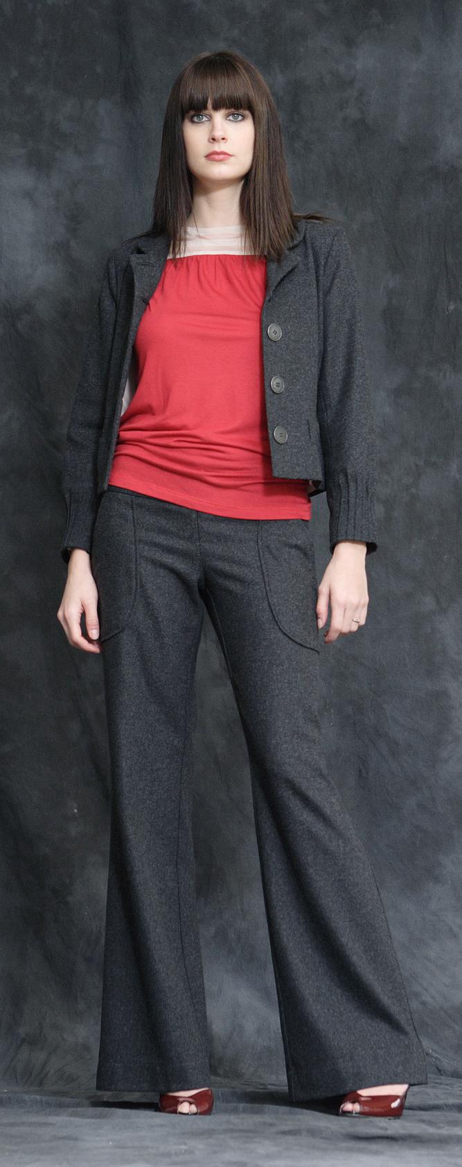 Wool Flannel Cropped Pin Tuck Jacket Lined in Silk  Jersey Bateau Shell w/ Scarf Belt  Wool Flannel Wide Leg Trousers w/ Quilt Stiched Waist.