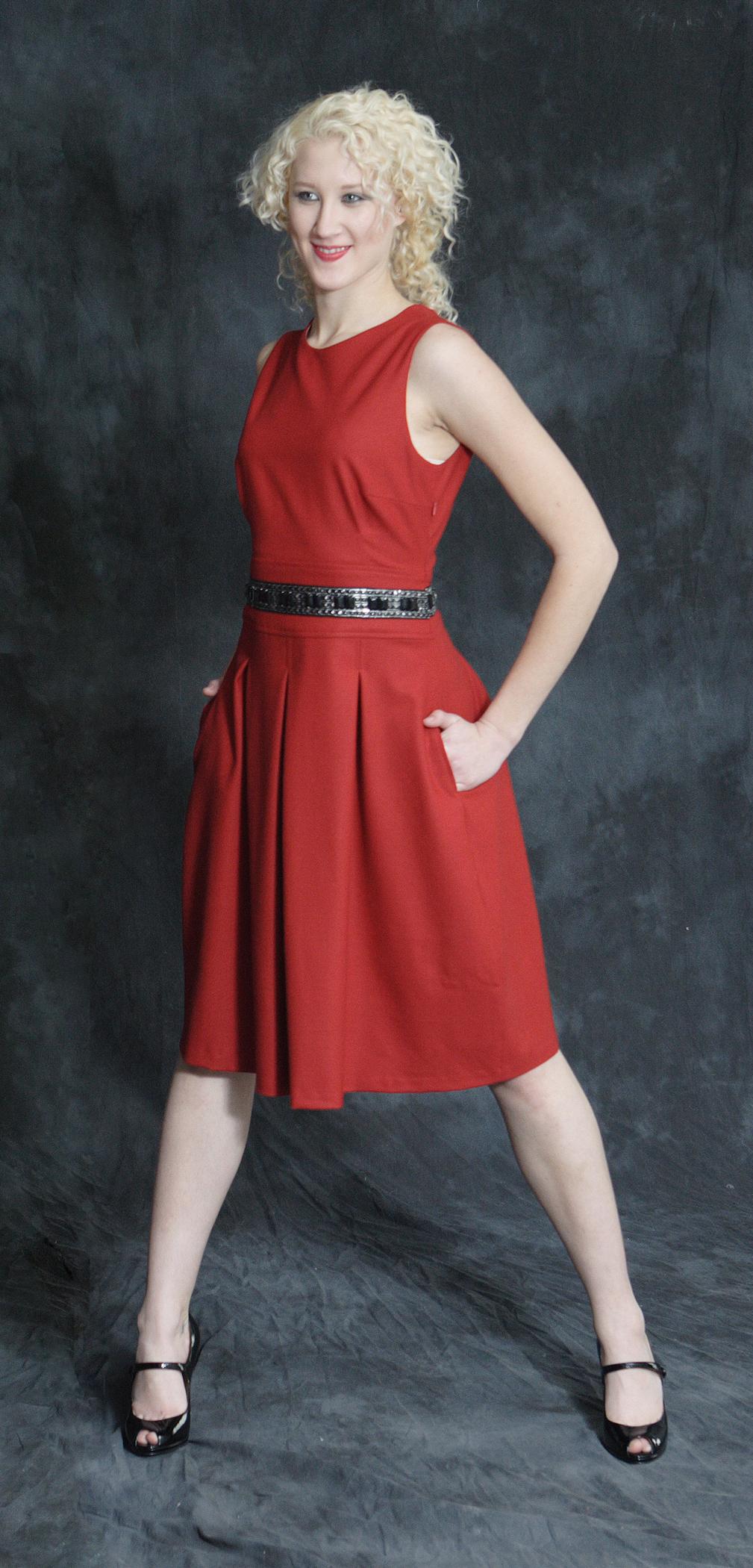 Stretch Wool Flannel High Waist Pleat Dress w/ Jeweled Trim.