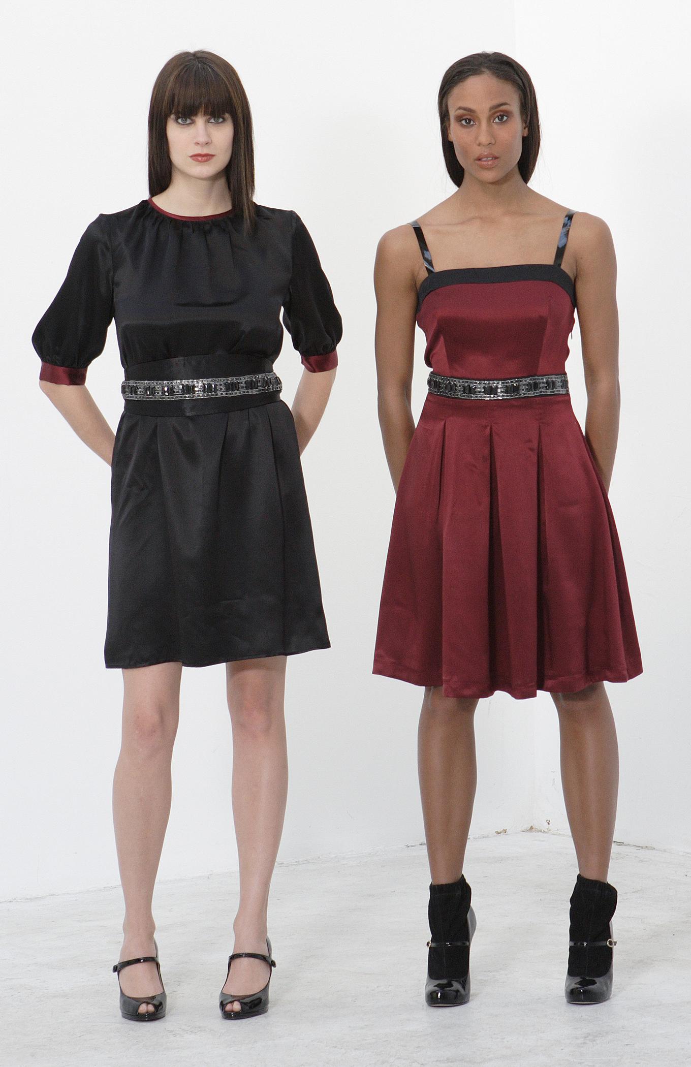 Silk Charmeuse Pleat Cami Sheath Dress w/ Jeweled Obi Belt   Silk Charmeuse Pleat Cami Dress w/ Patent Straps & JeweledWaist.