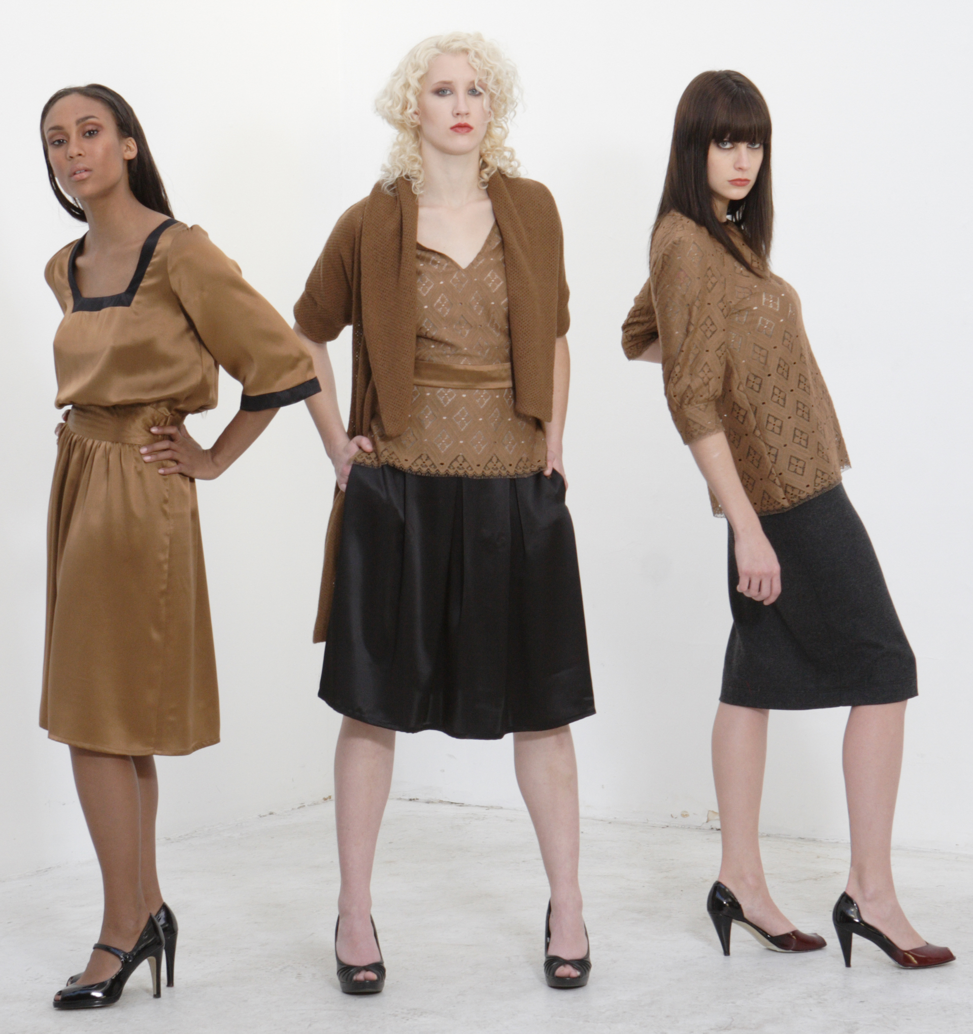 Silk Charmeuse Square Cut Dress w/ Quilt Stitch Waist  Woll Cashmere Shawl Sweater  French Lace V-Neck Top Lined in Silk  Silk Charmeuse High Waist Pleat Skirt.           French Lace Full Cut Shealth Blouse.  Wool Flannel High Waist Pencil Skirt.