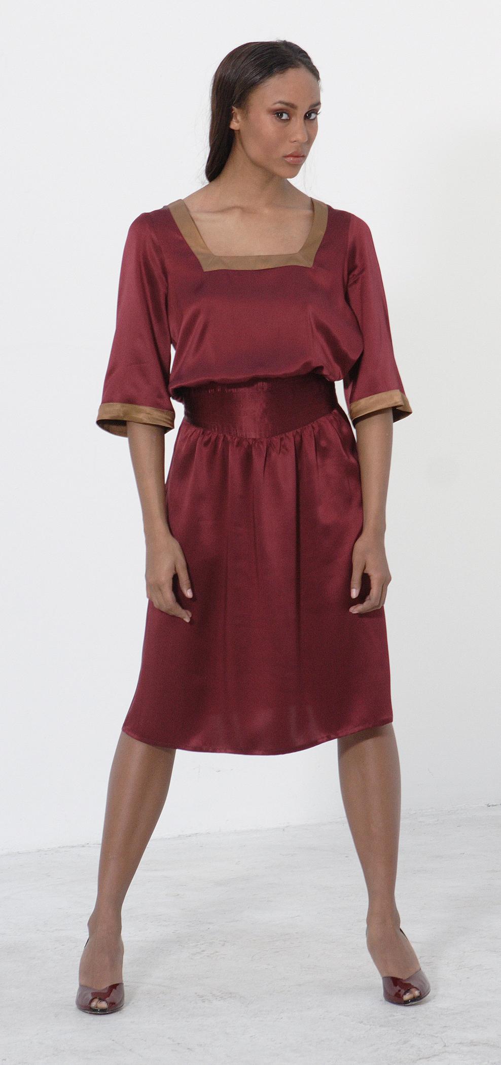 Silk Charmeuse Square Cut Dress w/ Quilt Stitch Waist.