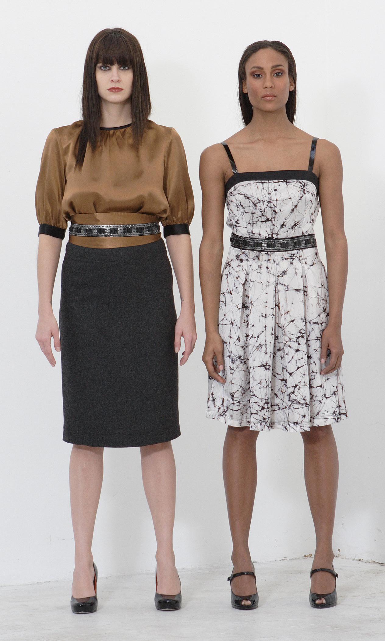 Silk Charmeuse Full Cut Sheat Blouse w/ Jeweled Obi Belt  Wool Flannel High l Waist Pencil Skirt.  Web Print Silk Charmeuse Pleat Cami Dress w/ Patent Straps & JeweledWaist.