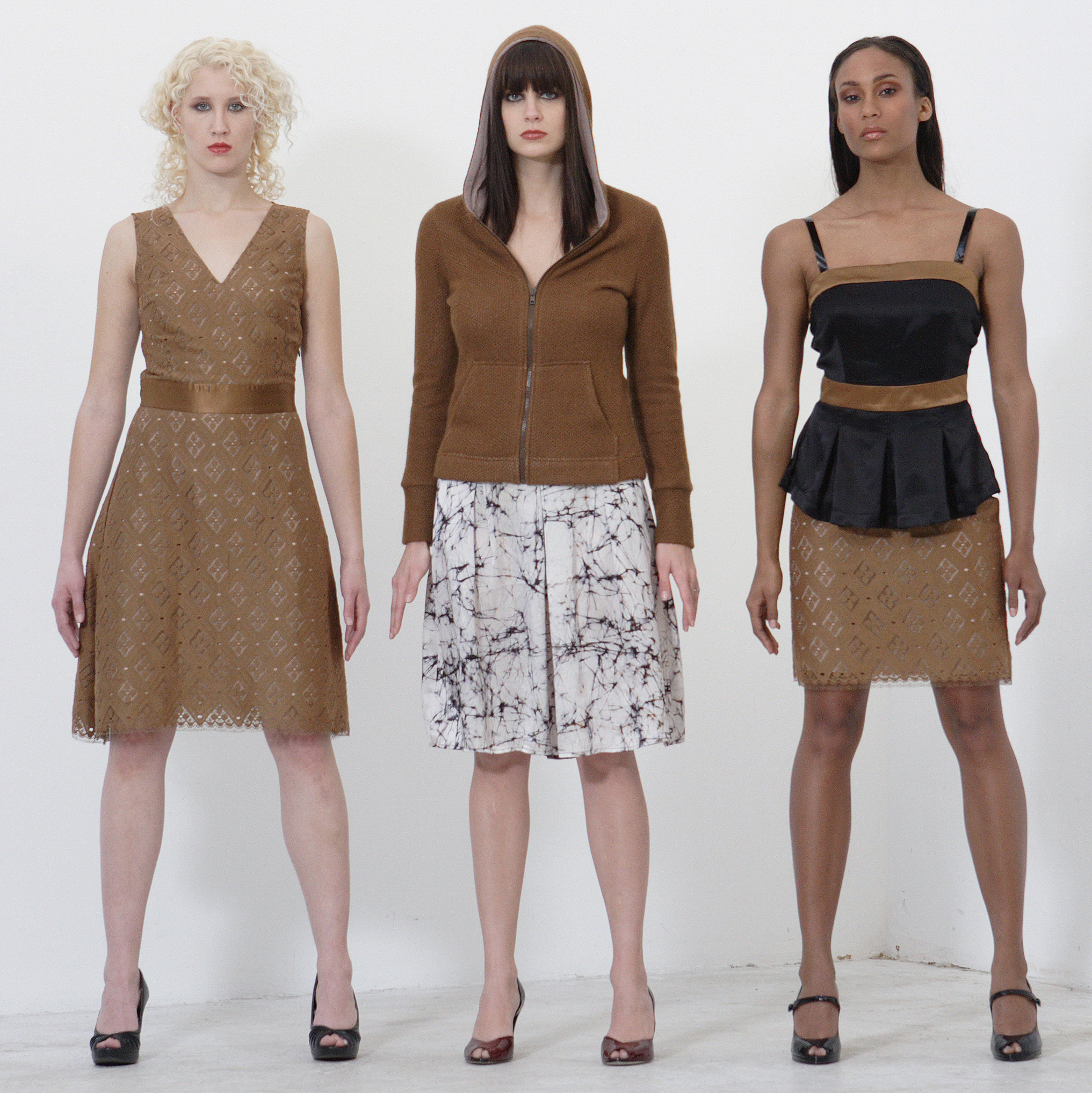 French Lace V-Neck Dress Lined in Silk.   Center:   Woll Cashmere Zip HoodSweater.  Web Print Silk Charmeuse High Waist Pleat Skirt.                             On Right:          Silk Charmeuse Pleat Cami Top w/ Patent Straps.  French Lace & Silk Mini w/ Quilt Stitch Waist.