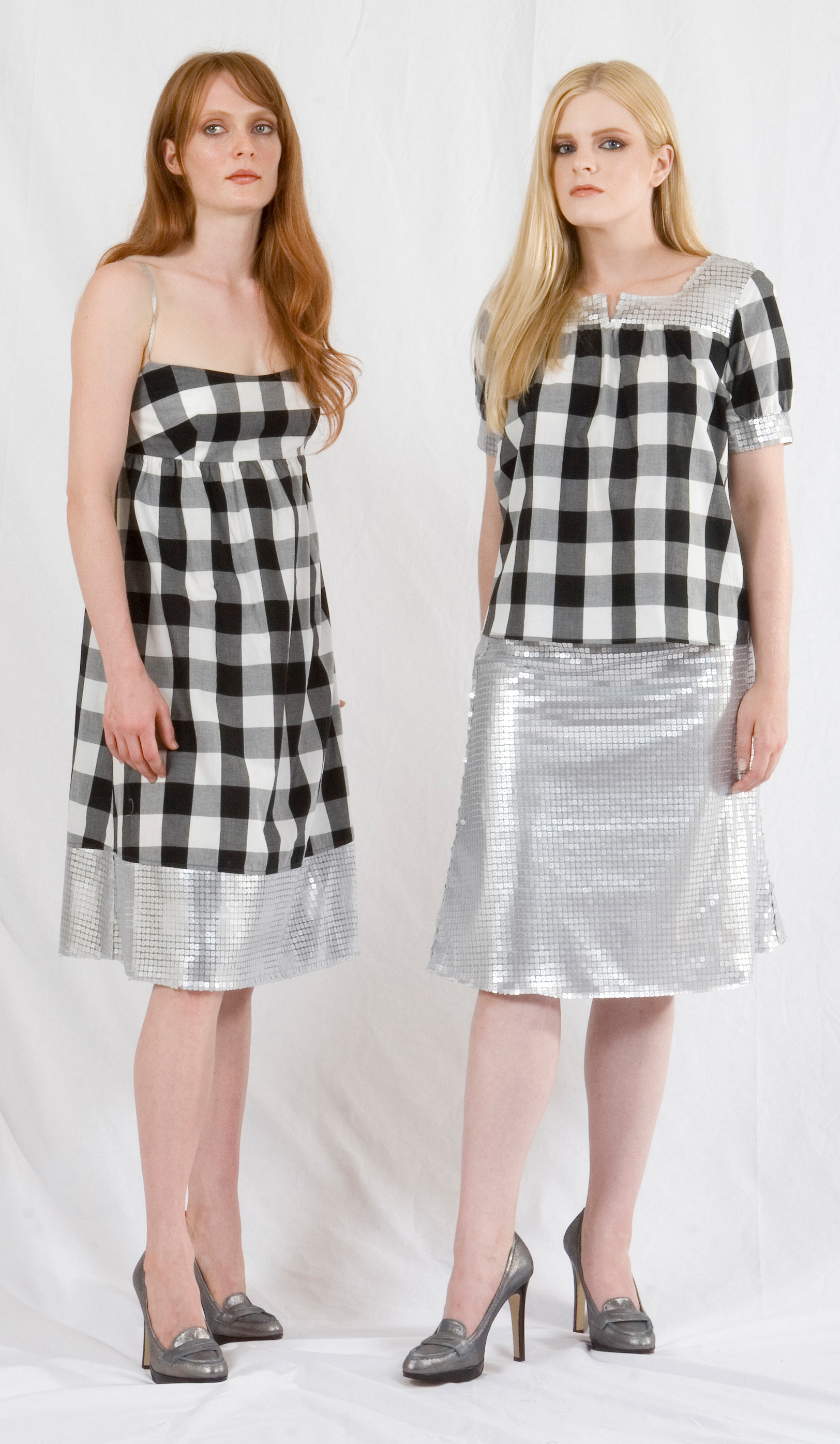 Cami Dress in Cotton Gingham w/ silver Sequined Hem & Metallic Straps.   On right:   Cotton Gingham w/ Silver Sequined & Yoke & Sleeve Band.   A-Line Skirt in Silver Sequined Tulle.